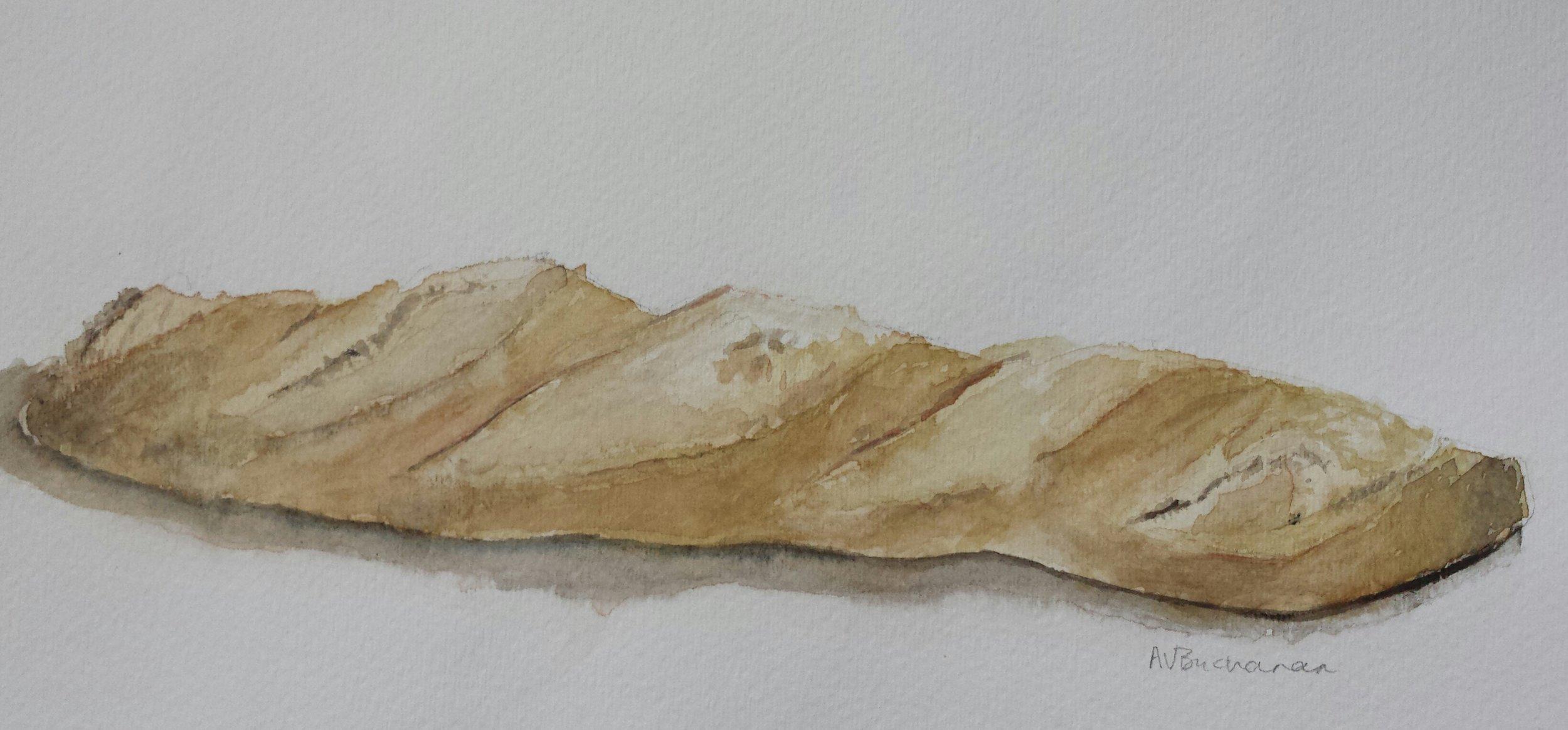 Baguette, 2015, watercolor.