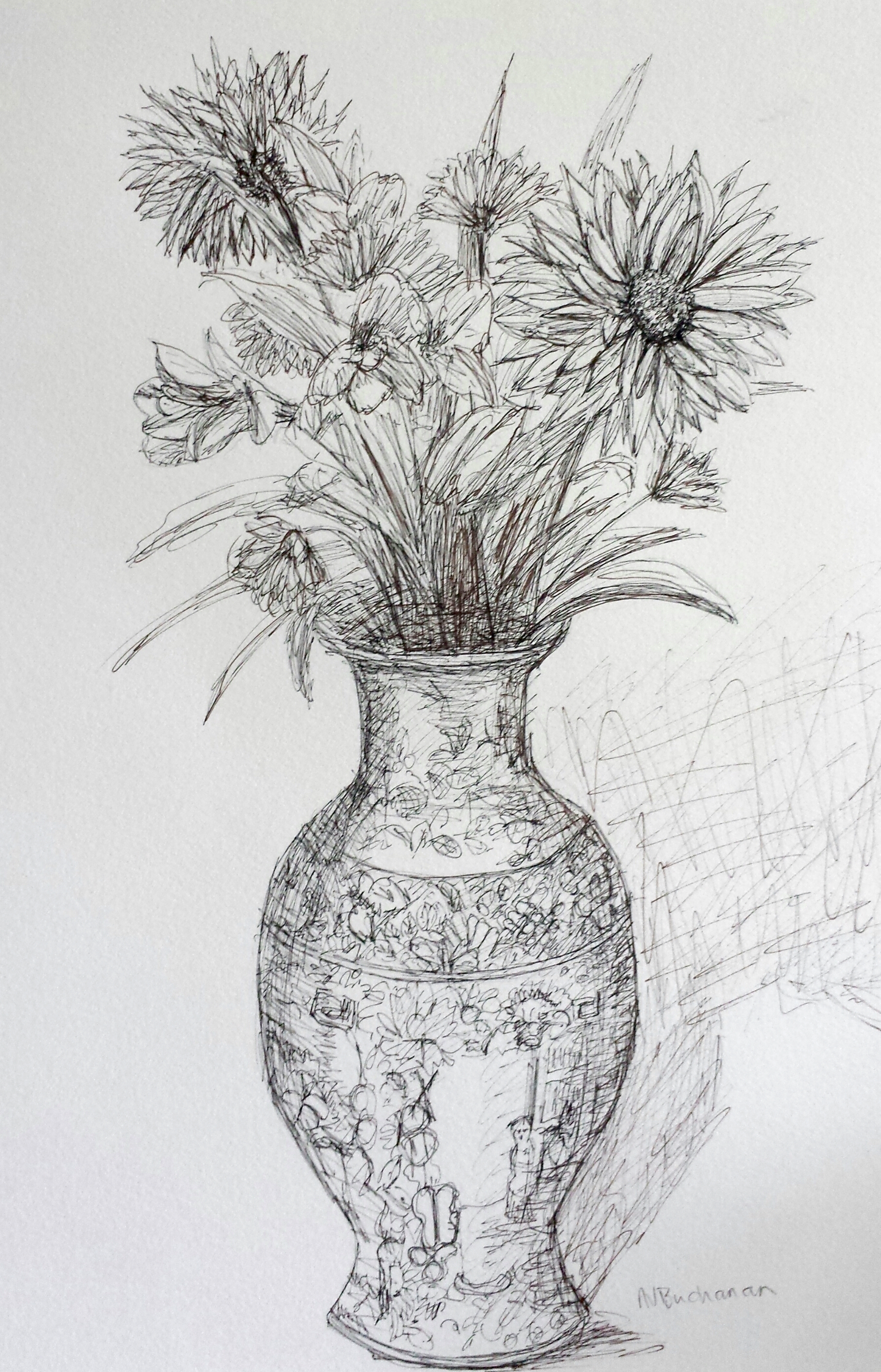 Vase of Flowers, pen and ink, 9 in x 12 in, 2016.