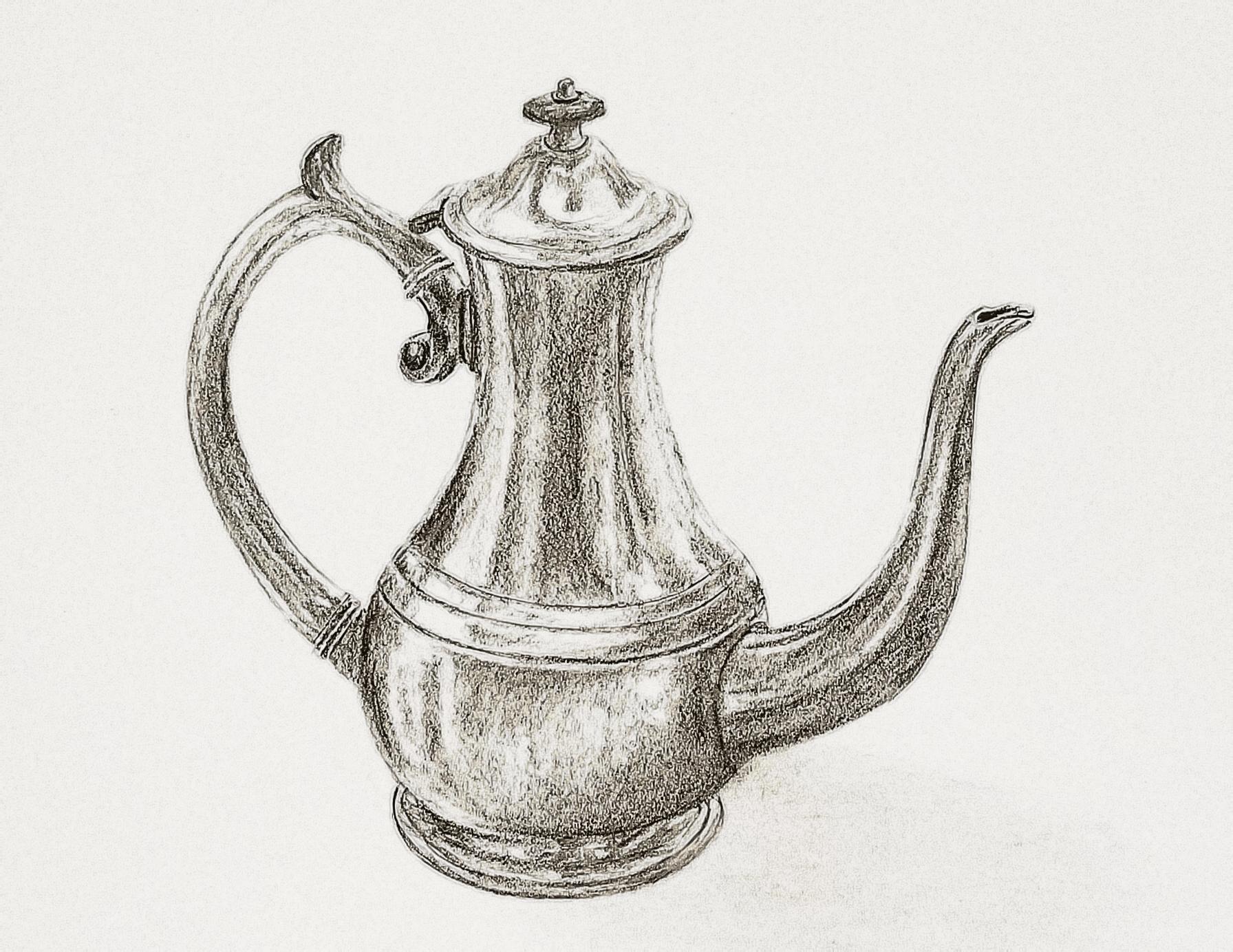 Silver teapot; graphite; 2017