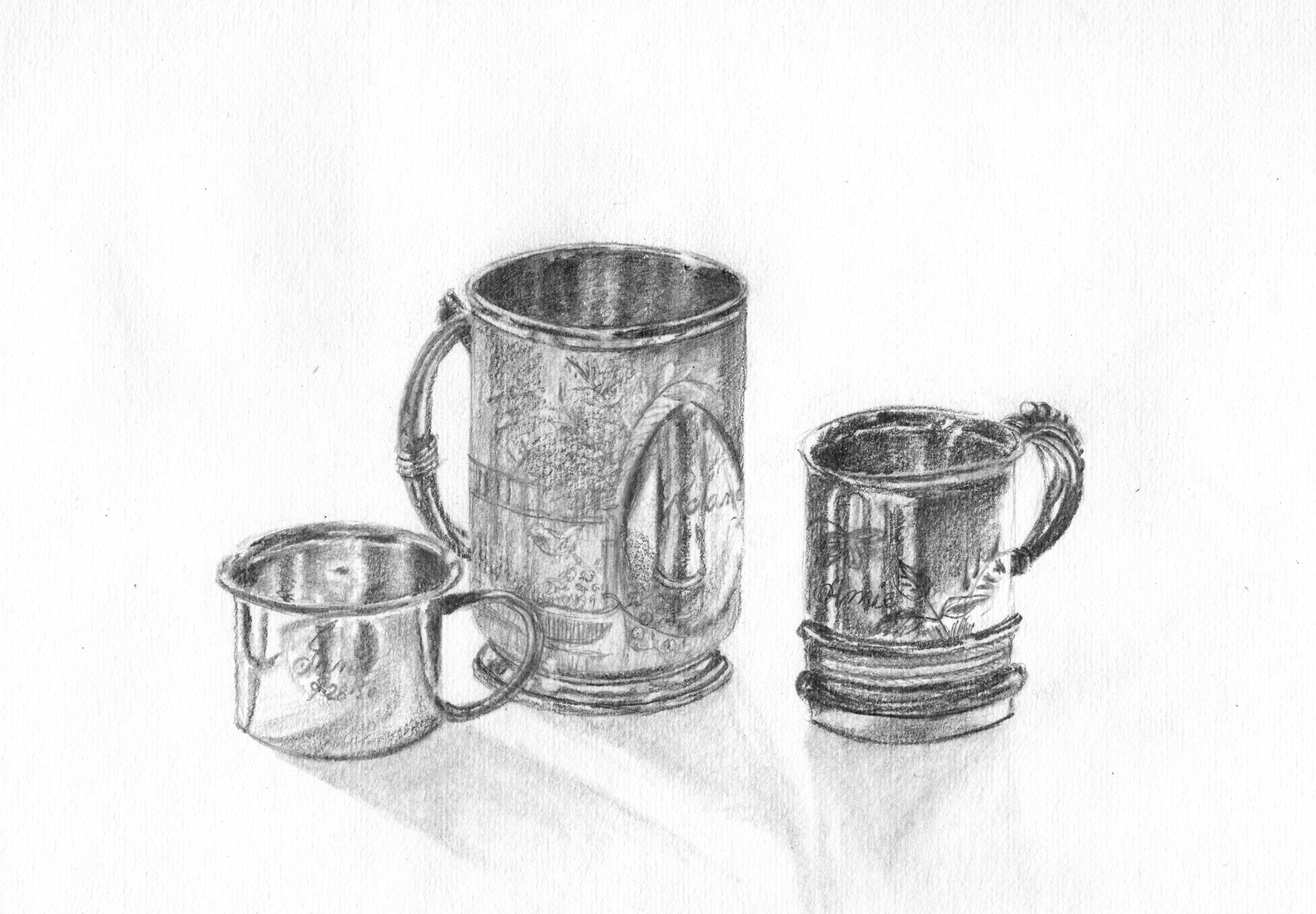 Silver baby cups; graphite; 2017