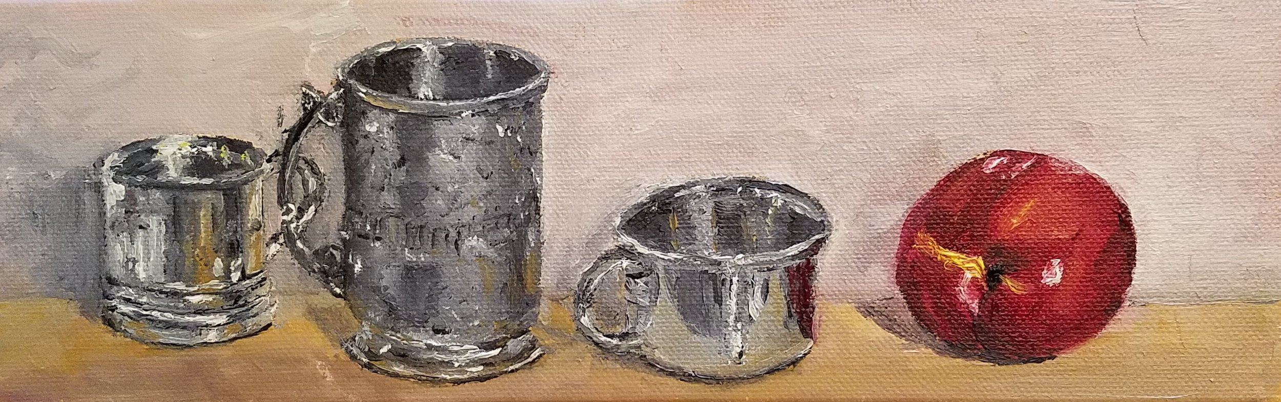 Silver cups with nectarine; oil; 2017