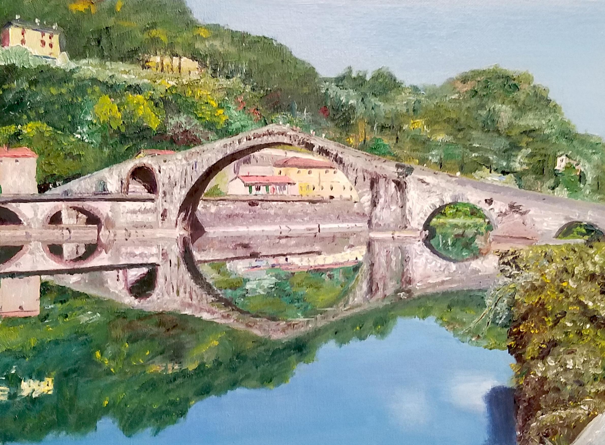 Ponte del Diavolo, Lucca, Italy; oil; 2017