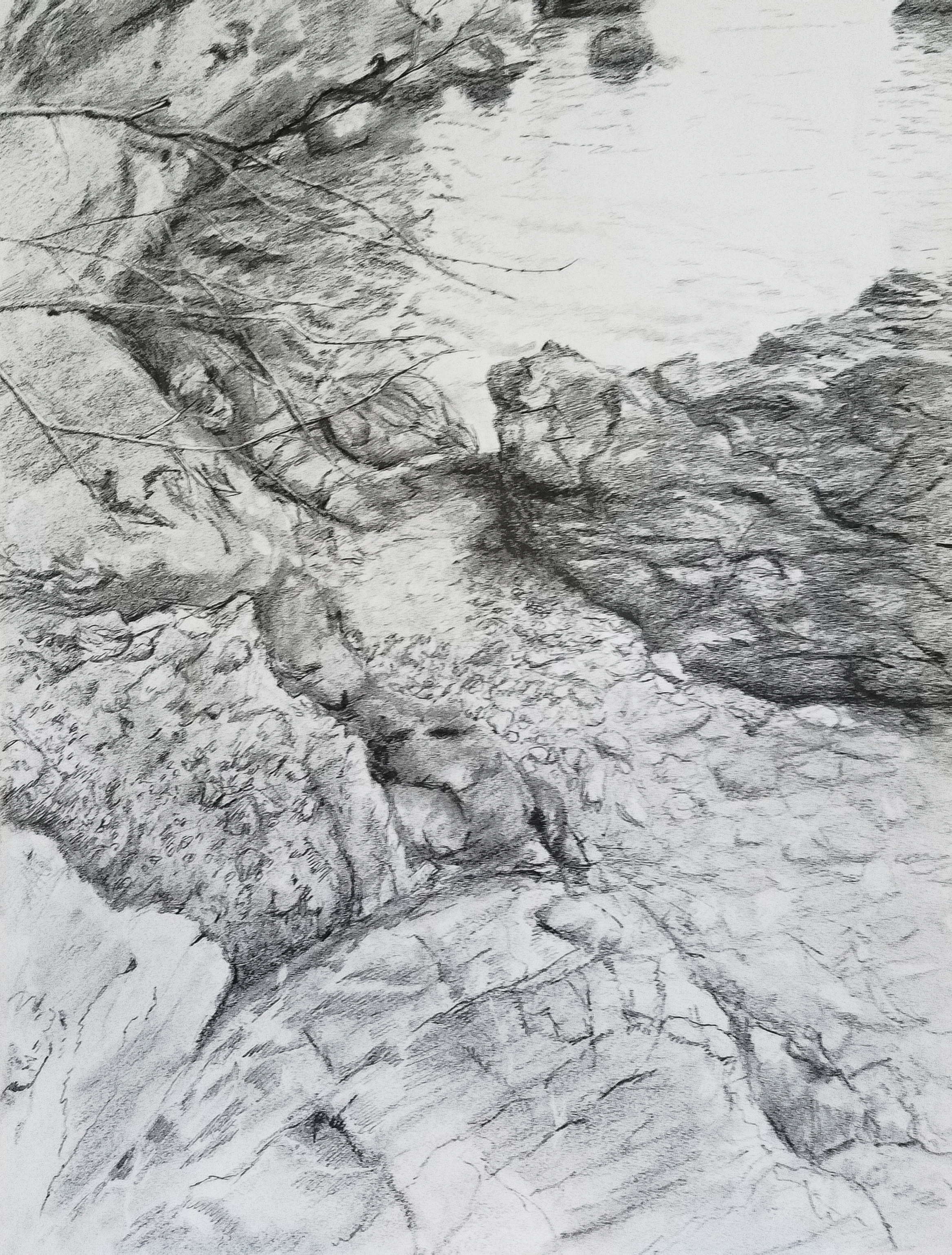 Beach Pebbles, Tellaro, Italy; graphite; 2018