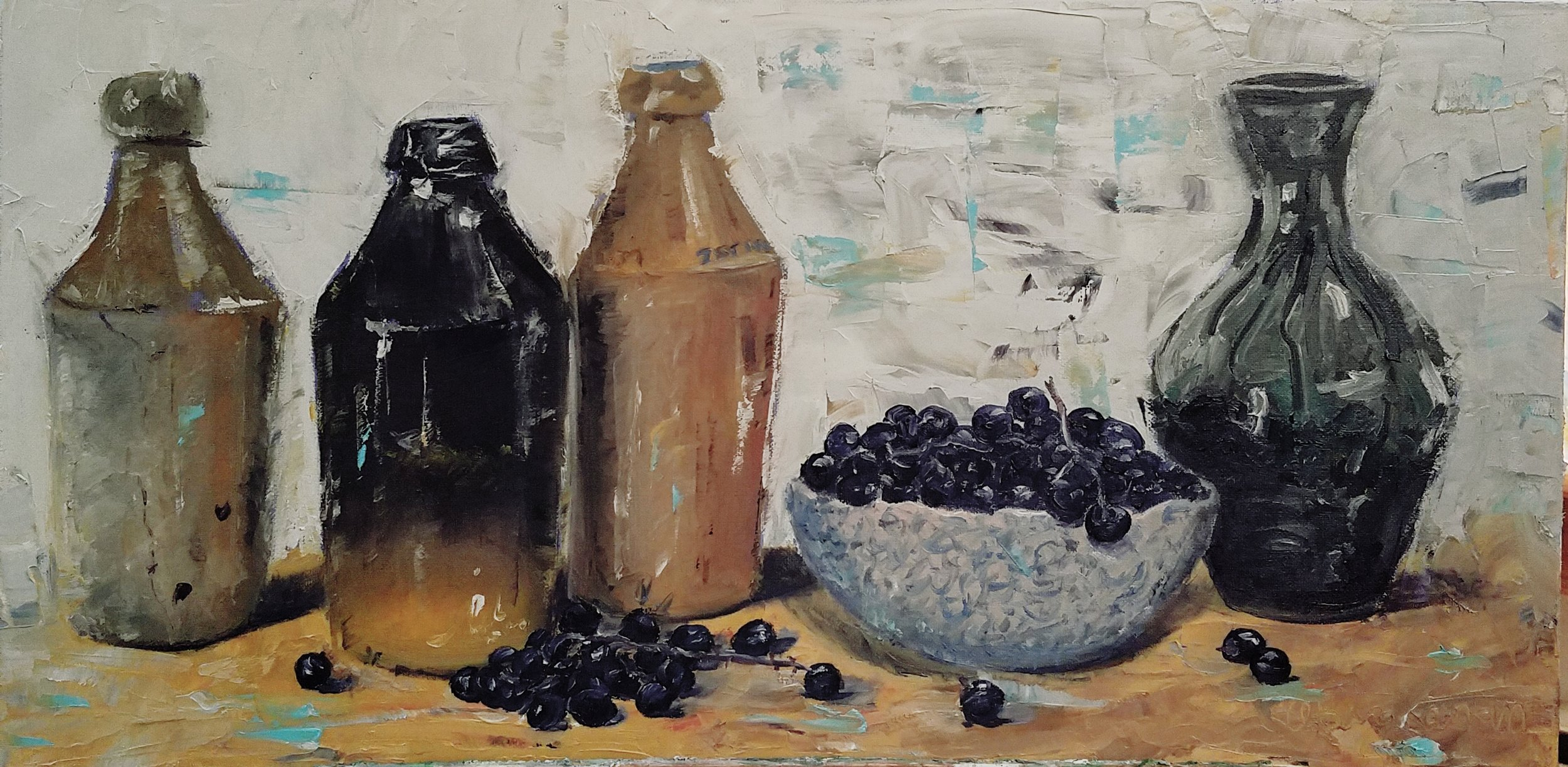 Still Life with Grapes; oil on canvas; 2018
