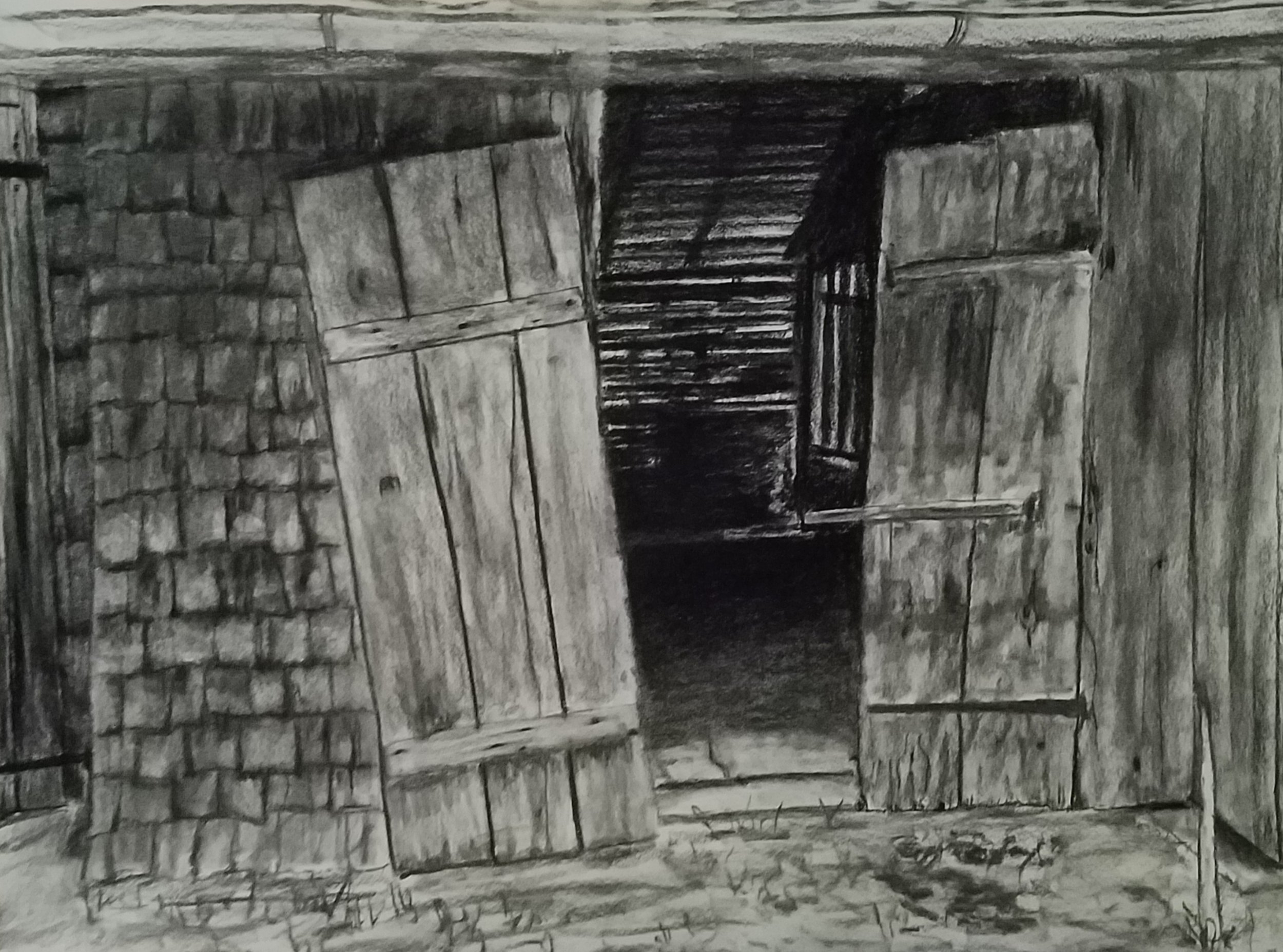 Alpine Shed; charcoal; 2018