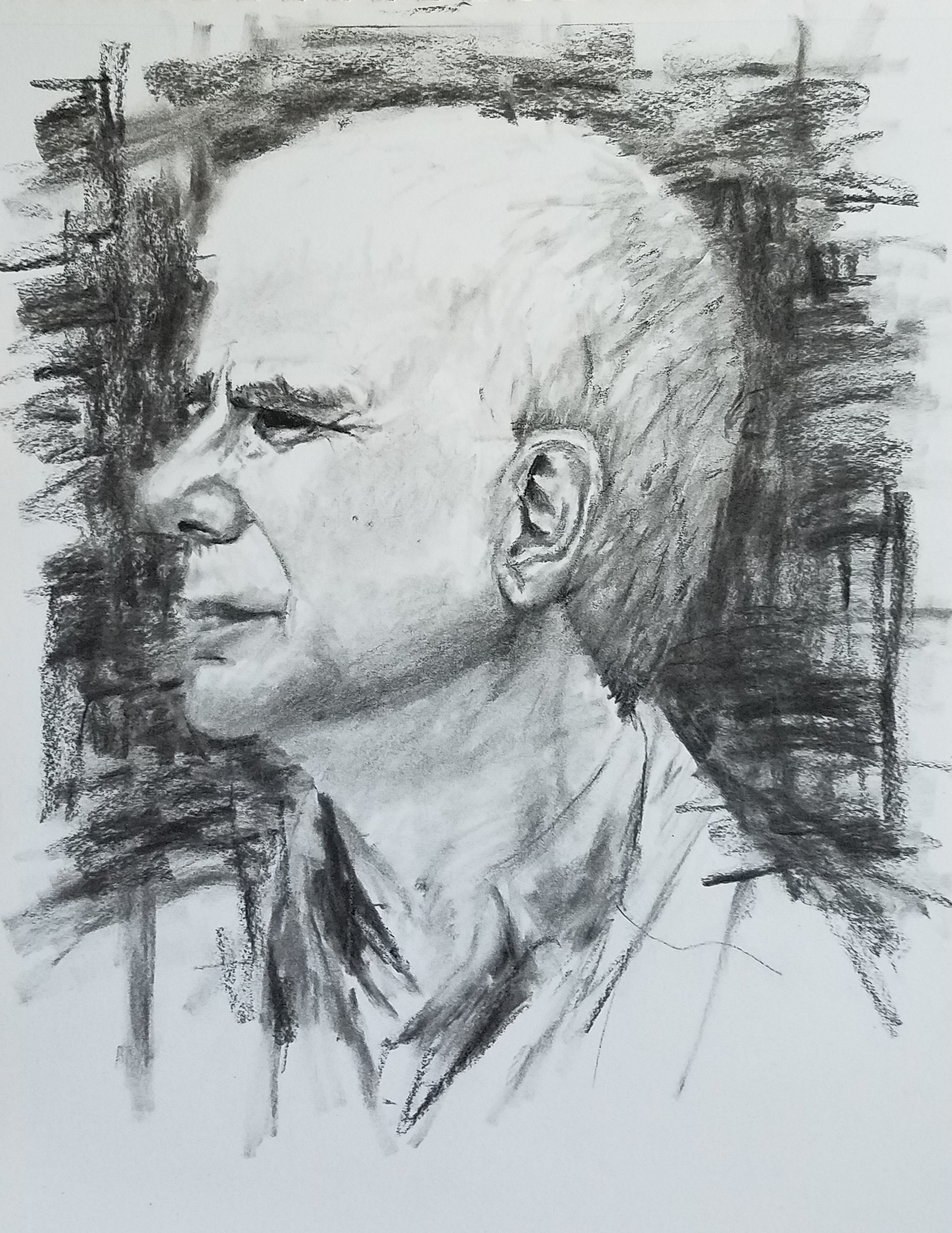Portrait in Charcoal; charcoal; 2018