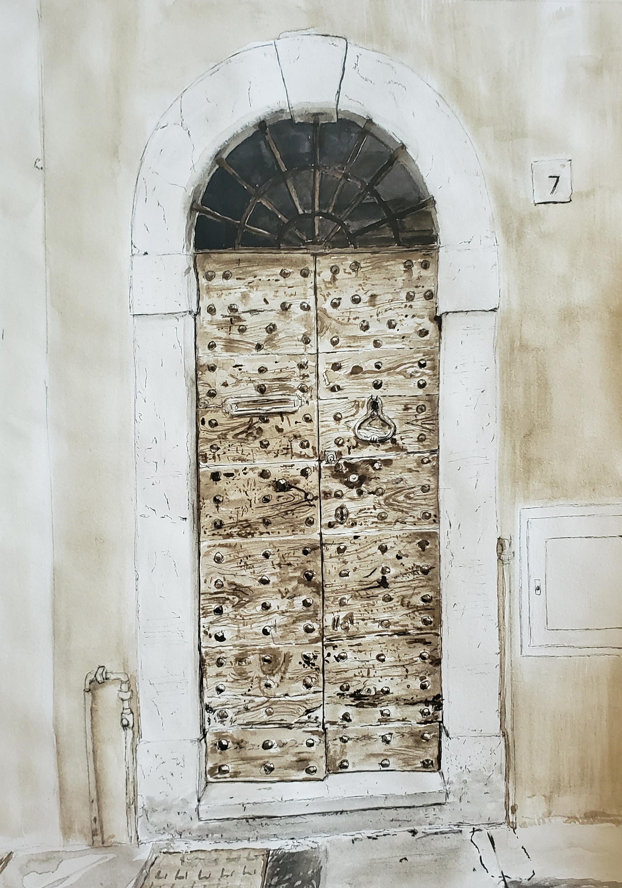 Old door in Lombardy #3; pen and ink; 2019