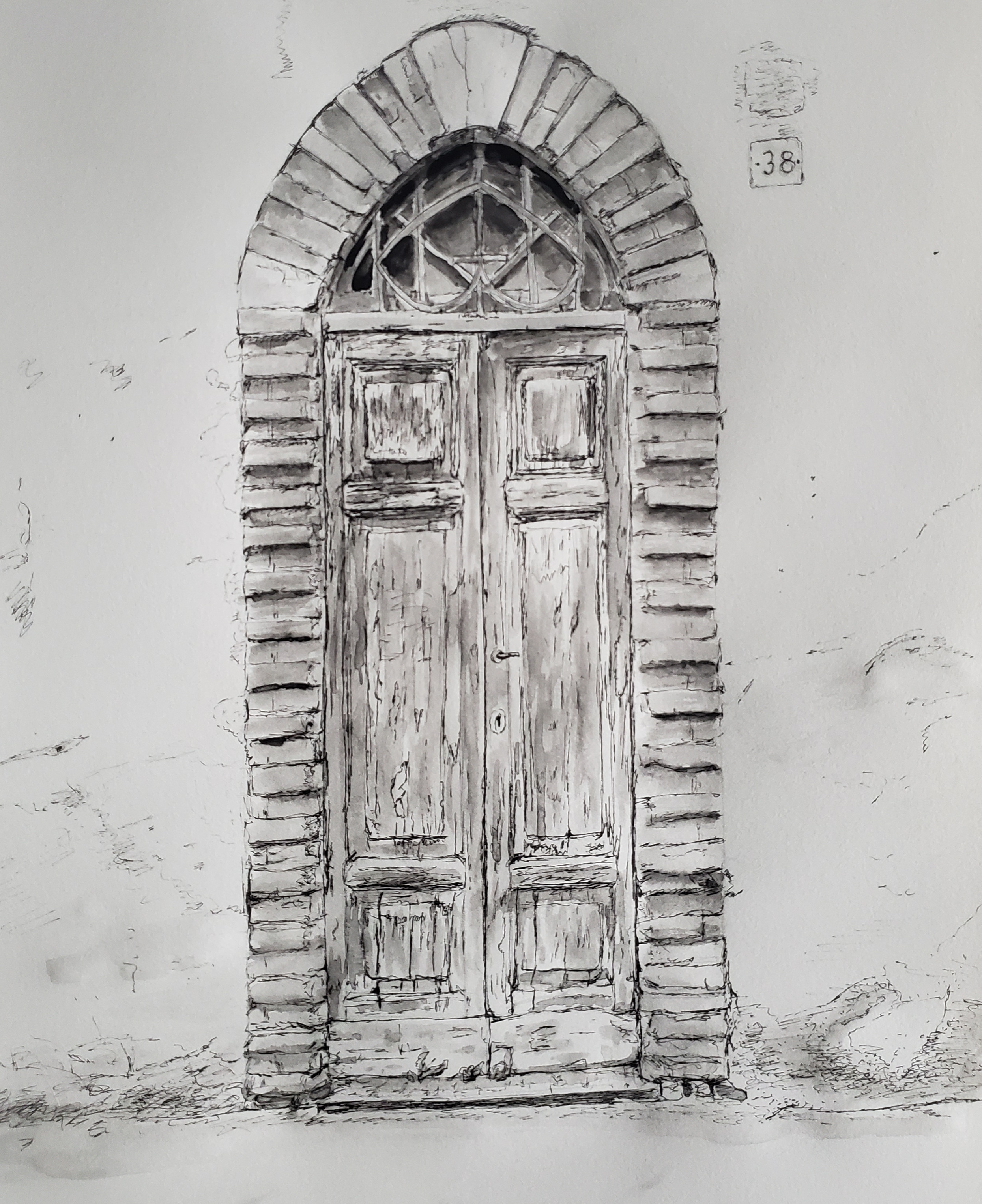 Old Door in Lombardia #2; pen and ink; 2019