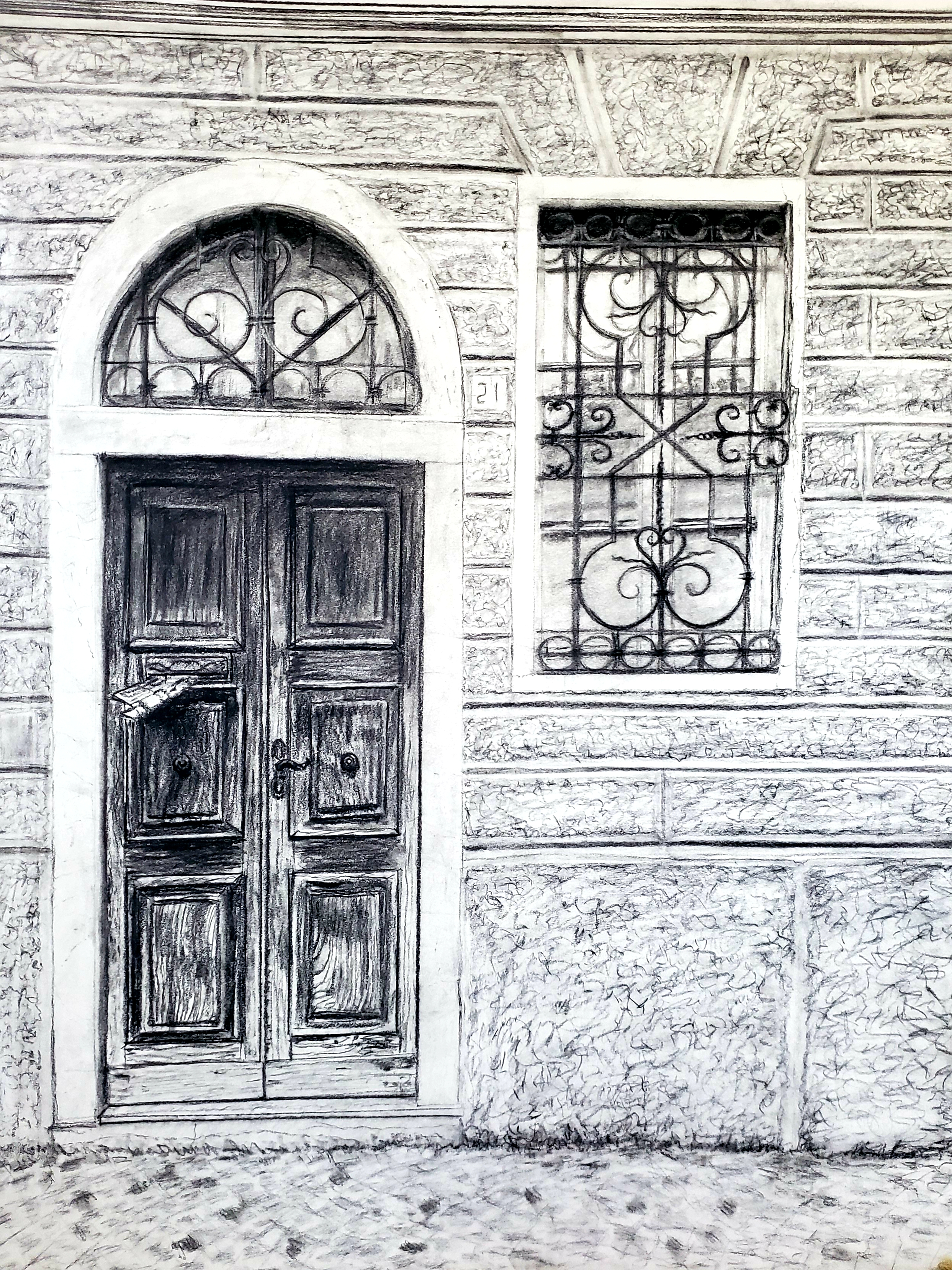 Old Door in Lombardy #1; charcoal; 2019