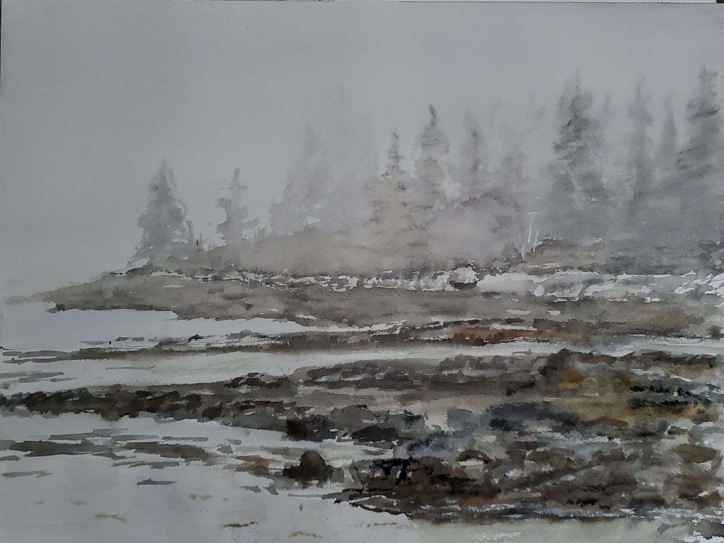 Fog on the Coast of Maine; watercolor; 2019