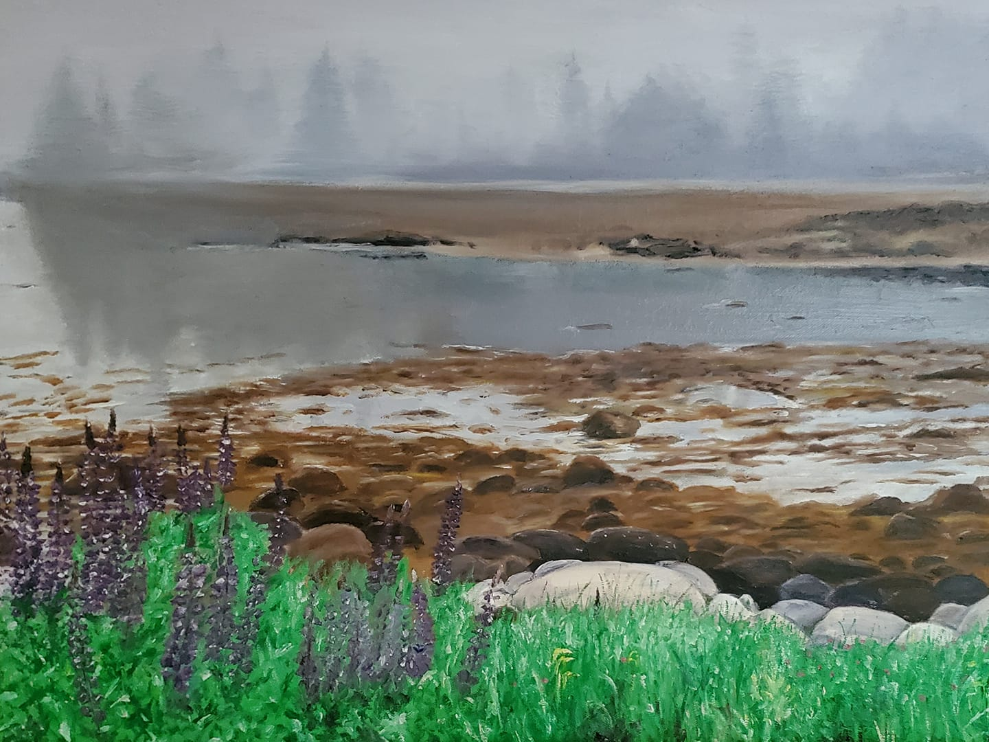 Lupines on Vinalhaven; oil on canvas; 2019
