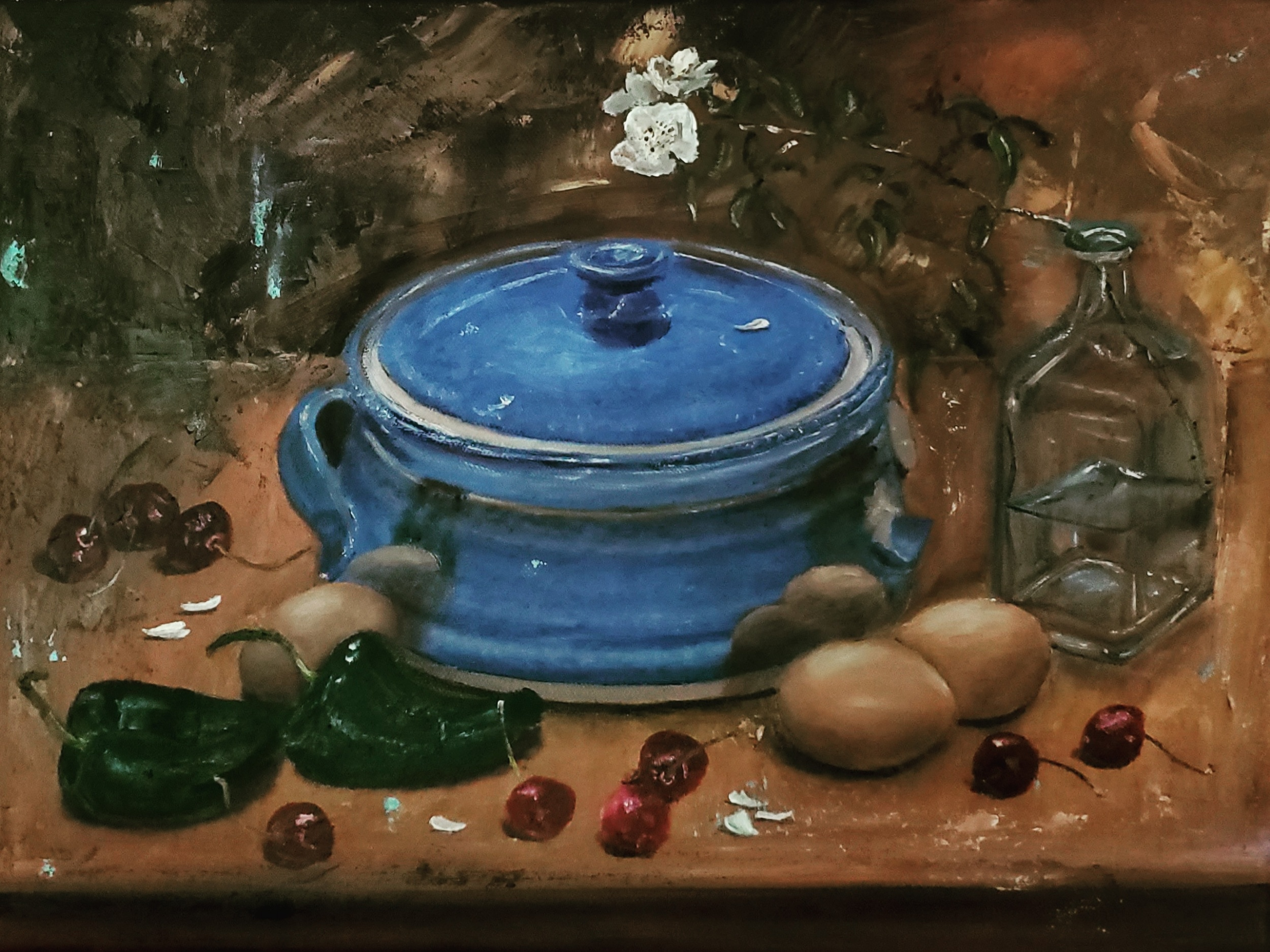 Stillife with Blue Casserole; oil on canvas; 2019