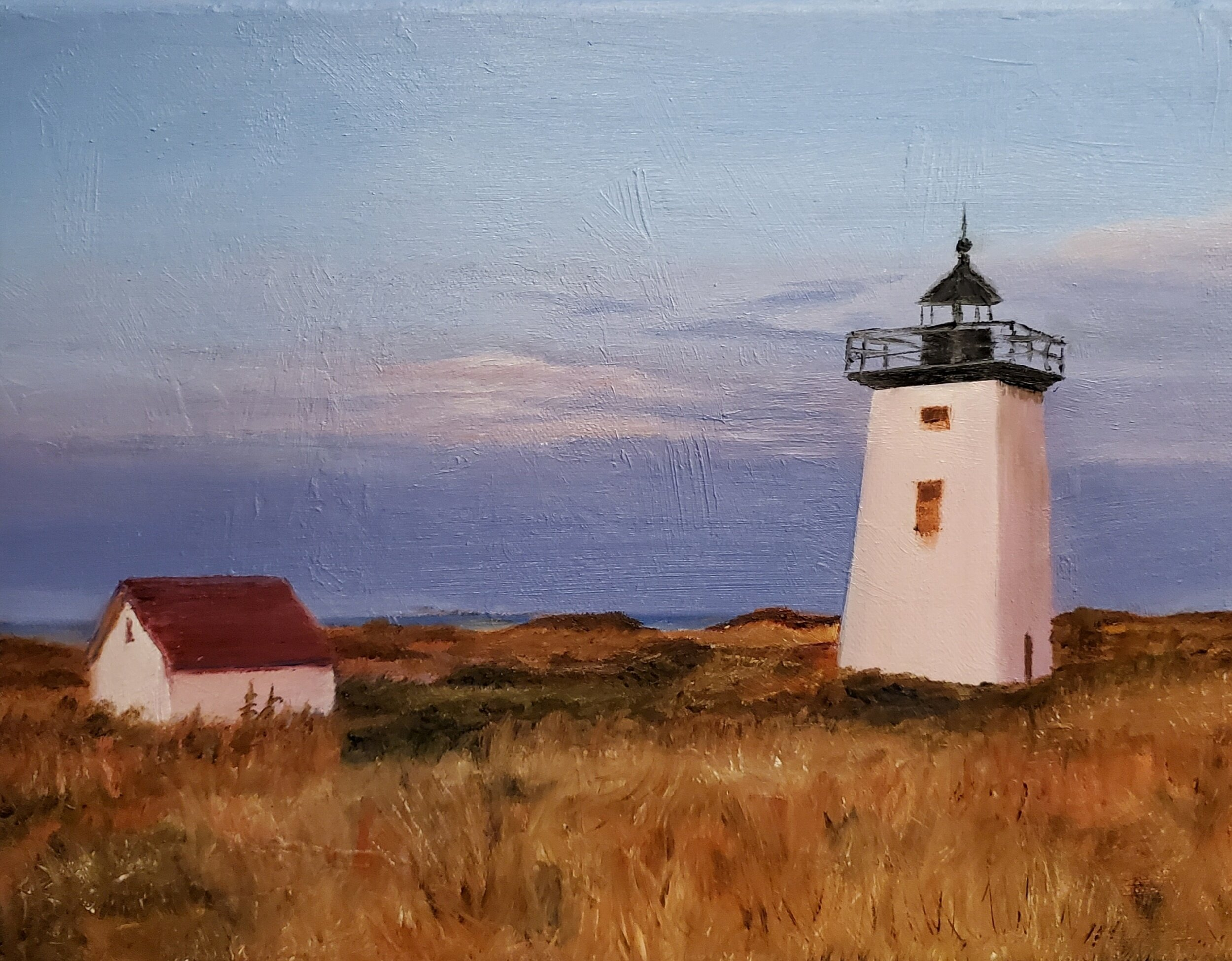 Sunrise at Wood End Lighthouse, Provincetown, from a friend's photo; oil on canvas; 2019