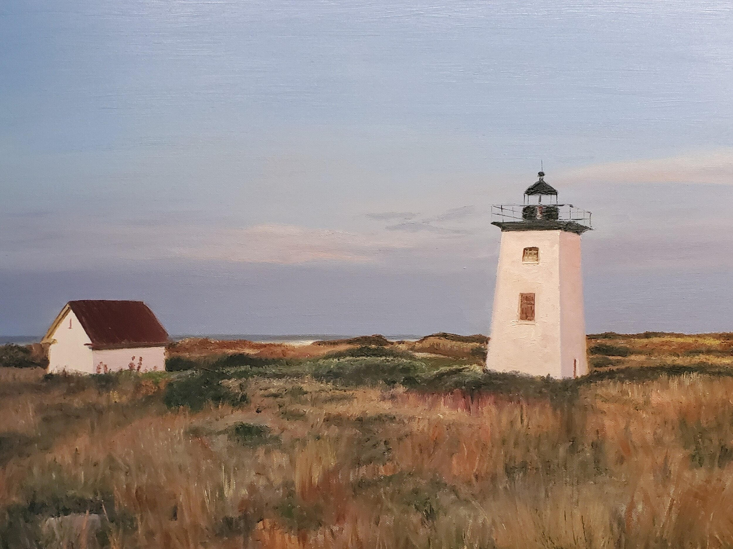 Sunrise at Wood End Lighthouse, Provincetown, MA, #2; oil on canvas; 2019.