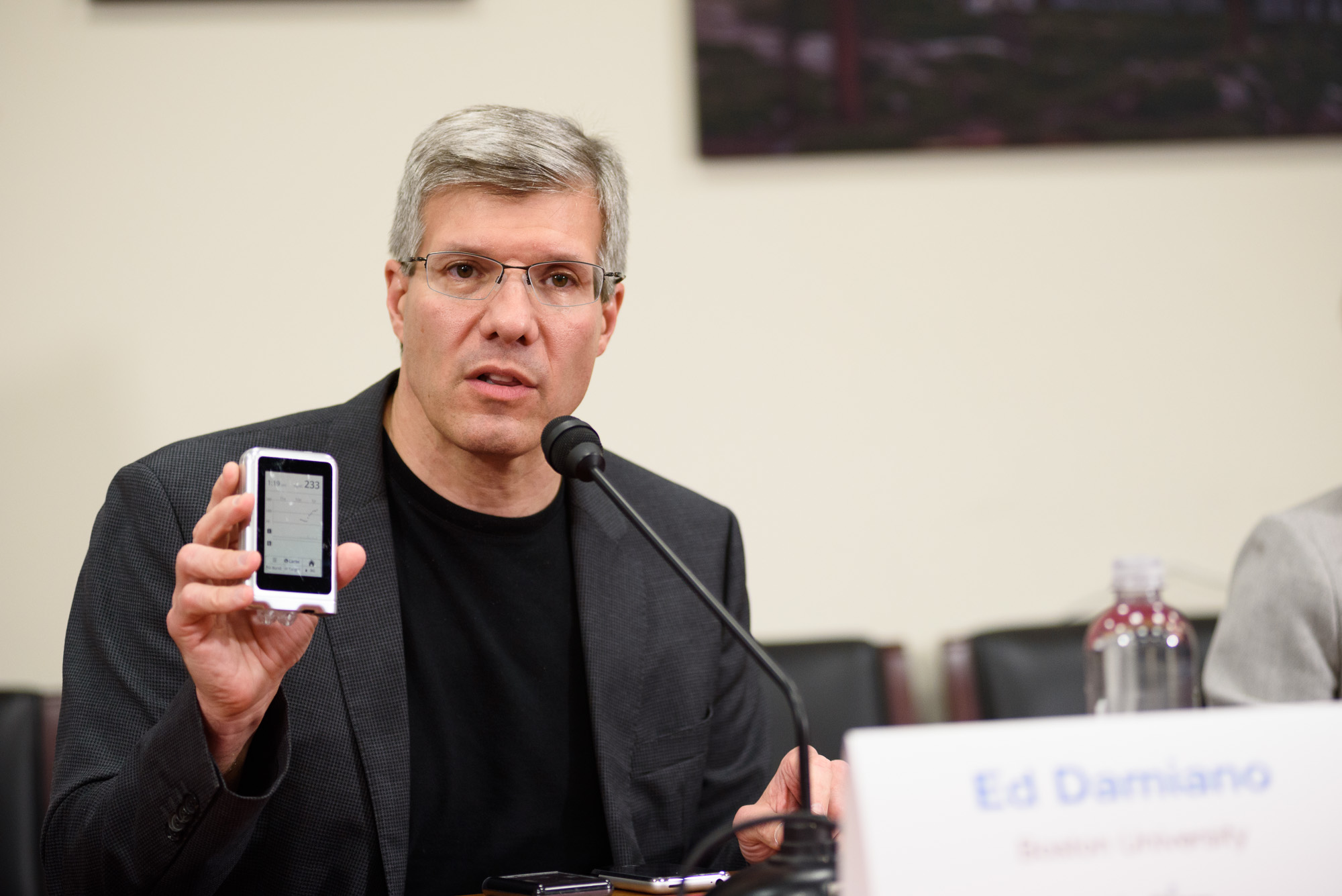 Dr. Ed Damiano of Boston University and Beta Bionics displays his invention the iLet,a fully integrated bionic pancreas. The device allows patients with Type One Diabetes to maintain their glucose metabolism with a device that fits in your pocket.