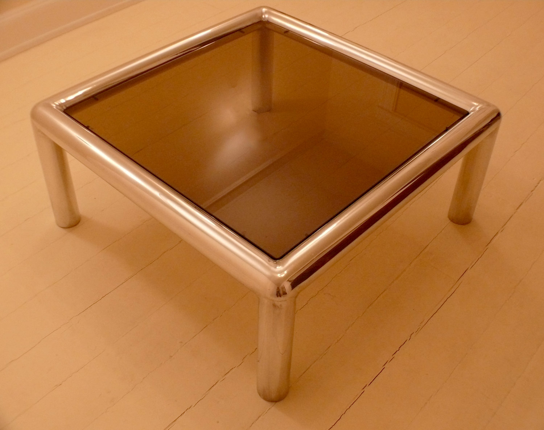 "John Mascheroni table / 36""sq. 14"" h / aluminum / original 70's"