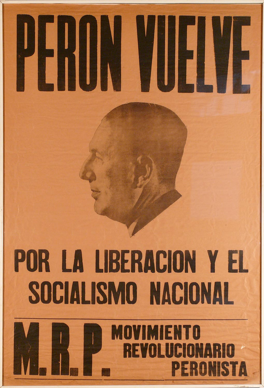 "JUAN PERON poster rare framed / 30 x 44"" /on fragile orange news print"