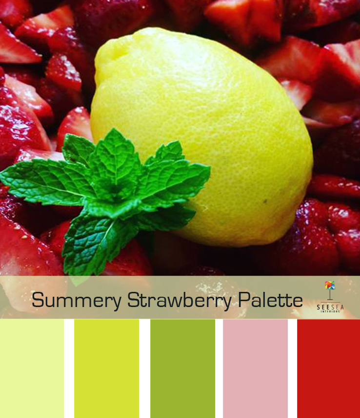 a beautiful, bright palette that mixes yellow, red and green for a fresh summery look.