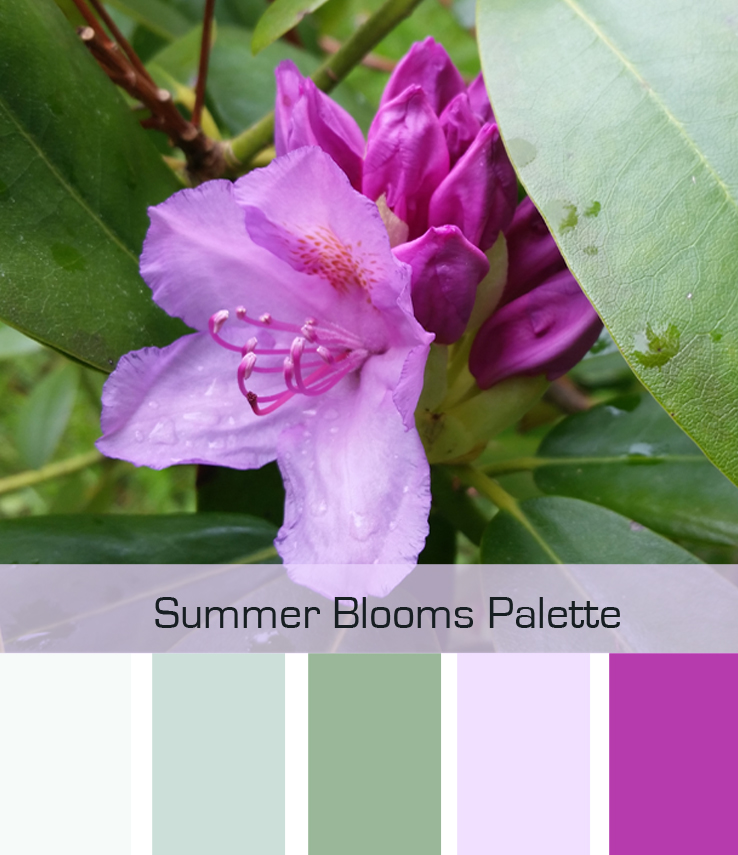 Color palette: summer blooms. A beautiful and relaxing mix of green and pink . We've got tips on how to apply this!