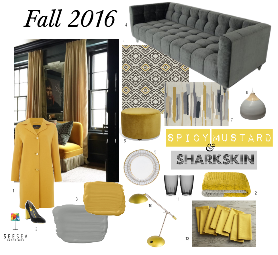 Fall Colors 2016: Spicy Mustard and Sharkskin are two of Pantone's fall colors, and we love them on you or in your home. Gorgeous grey and yellow tones for the living room, dining room, kitchen and more.