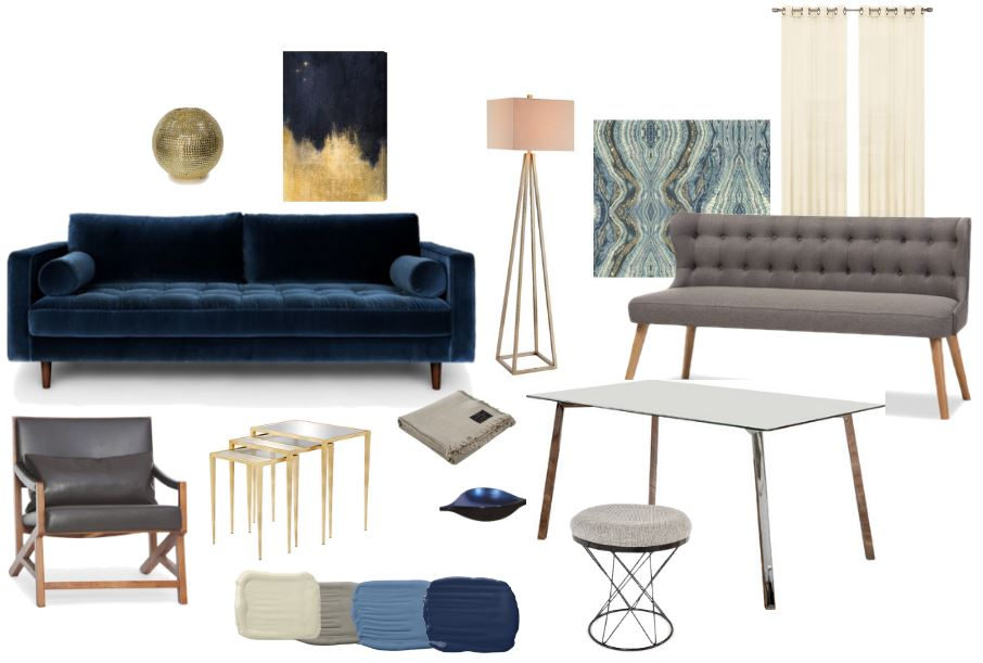 This is an initial style board without all objects included, that we use to get feedback on the client's likes and dislikes. I love the colors, with the deep blue and warm metals providing a wonderful contrast. The dining area will feature a settee with a simple table and stool seating that can be used around the room when the dining table is not in use.