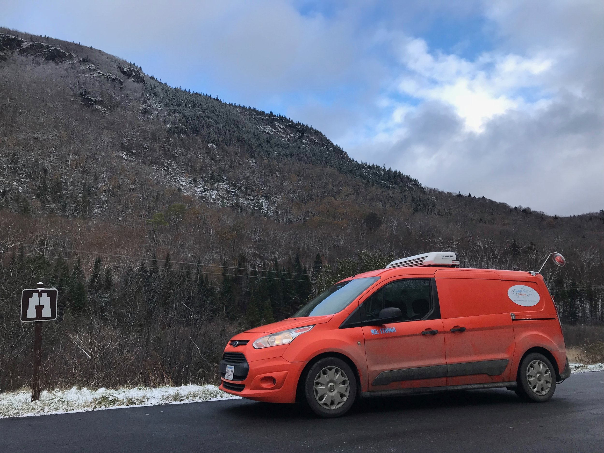 Tang  the frozen salmon van in the snowy Green Mountains of Vermont.
