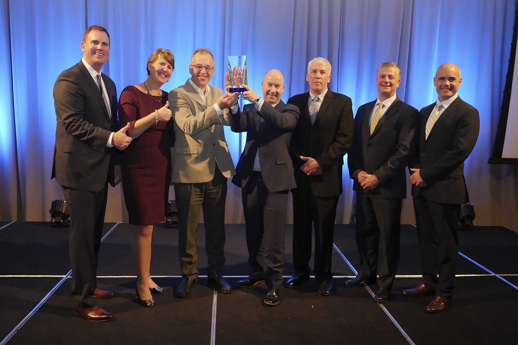 L-R: John Klein (Chief Procurement Officer, Medtronic), Marie O'Malley (Senior Director, Supplier Outreach, Medtronic), Stephen Hogg (CEO, Bellurgan Precision), Fintan Carroll (Director, Bellurgan Precision), Marti Gipson (Director Supply Chain, Medtronic), Carl Resteghini (Vice President Supply Chain, Medtronic), Sean Crowley (Vice President Operations, Medtronic).