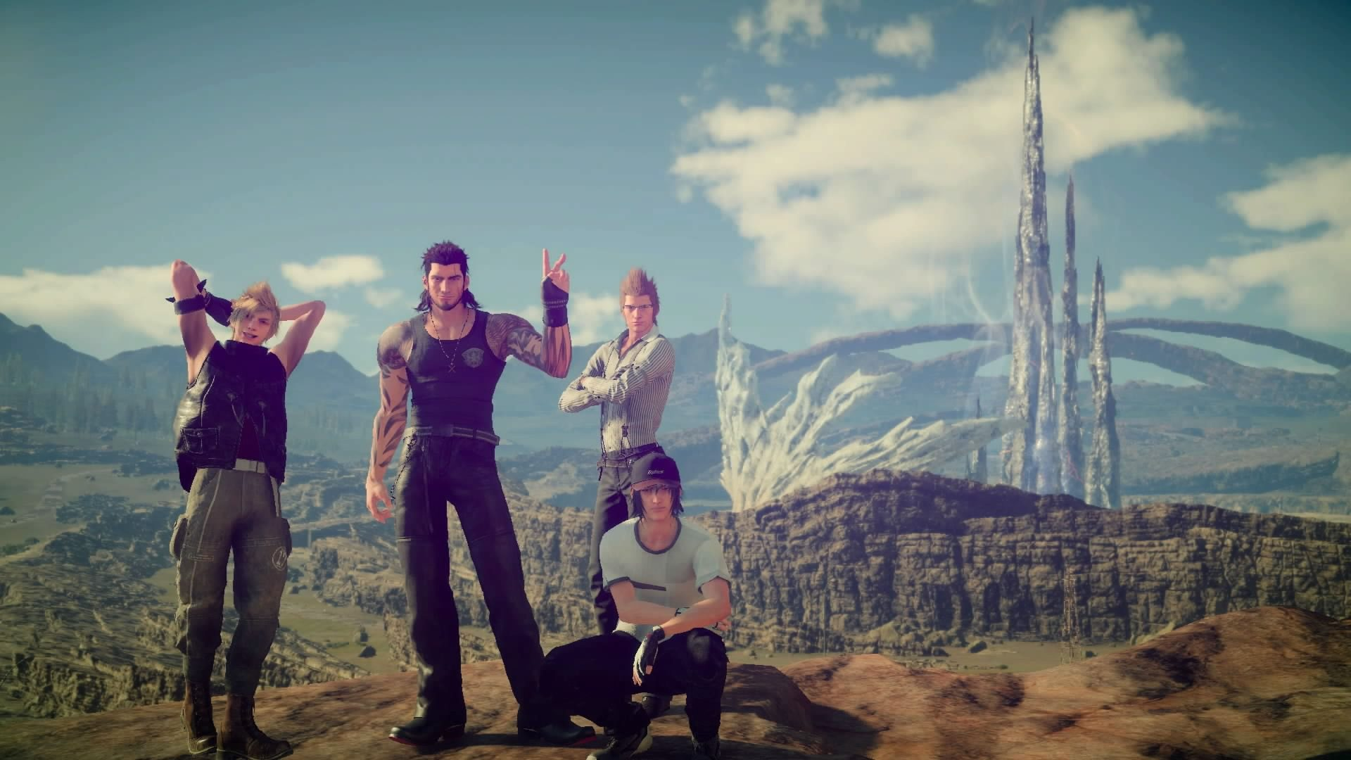 From left to right: Cloud Jr., Jumbo Mullet, Nerdy Wesker, and Noctis.
