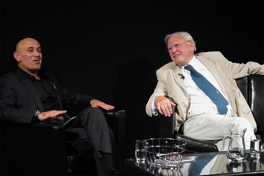 With Sir David Attenborough at the University of Surrey in October 2010