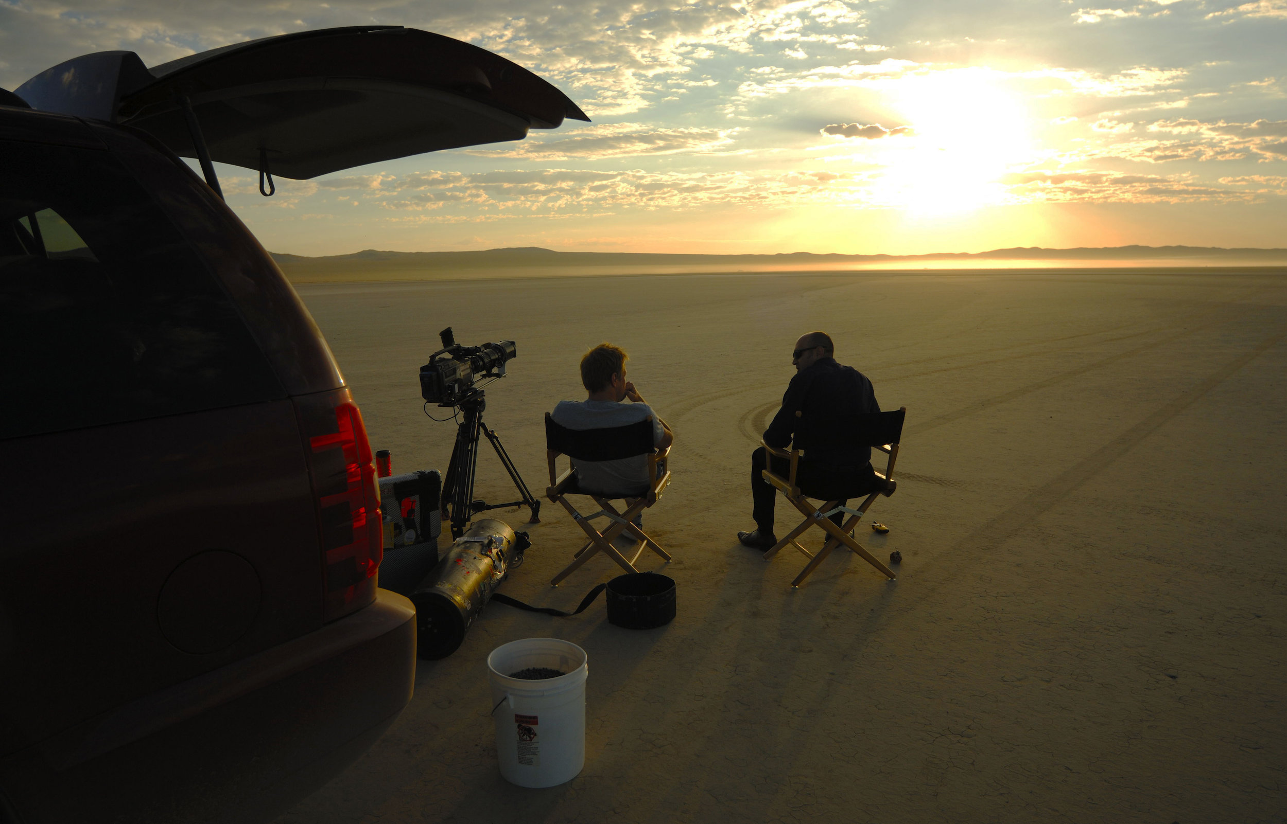 On set in the Mojave Desert in California for the BBC series Atom in 2007.