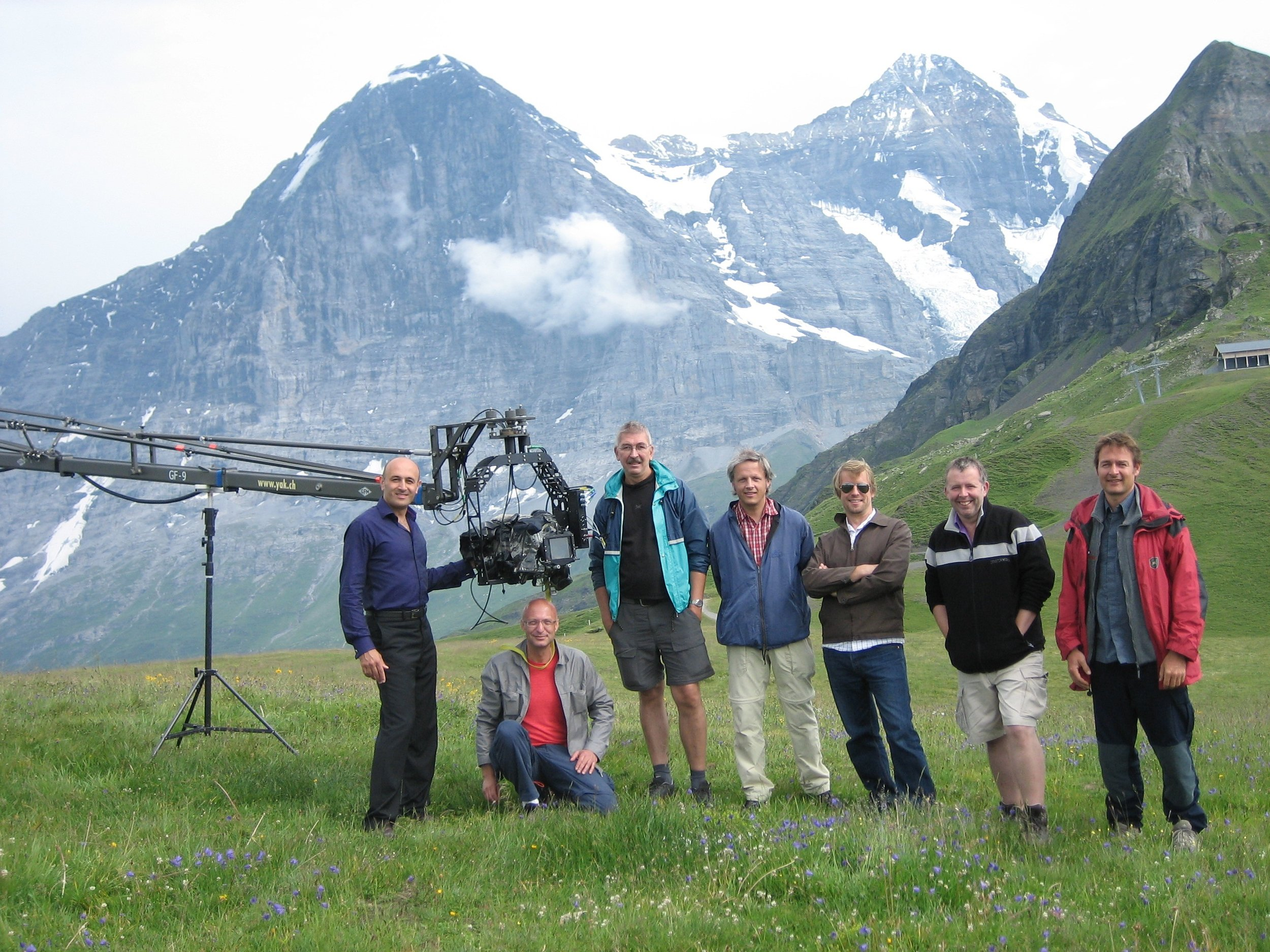 With film crew in Swiss Alps while filming Atom (BBC, 2007)