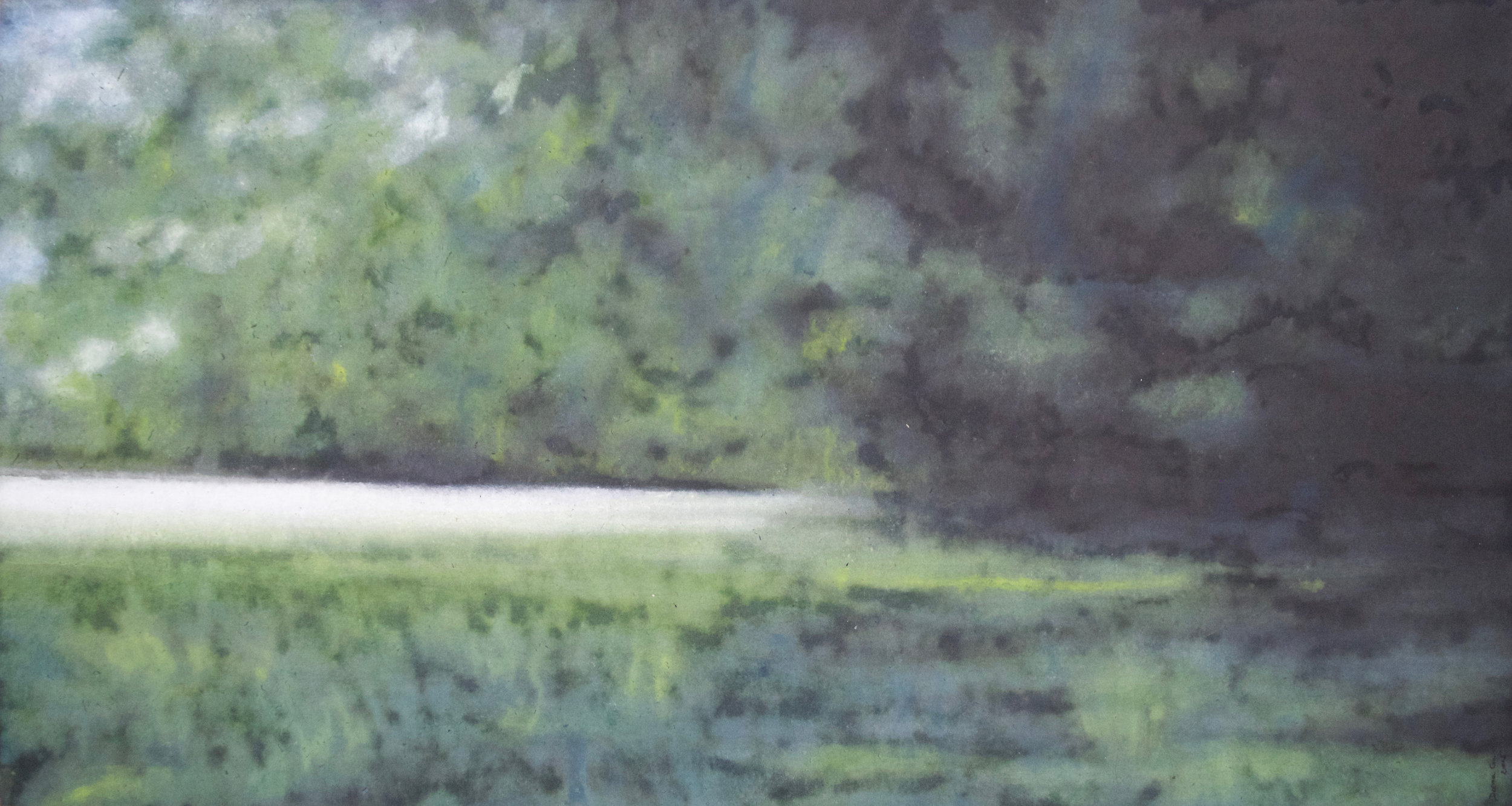 """Over the River and into the woods 31""""x58"""", Watercolor on rice paper, 2016"""