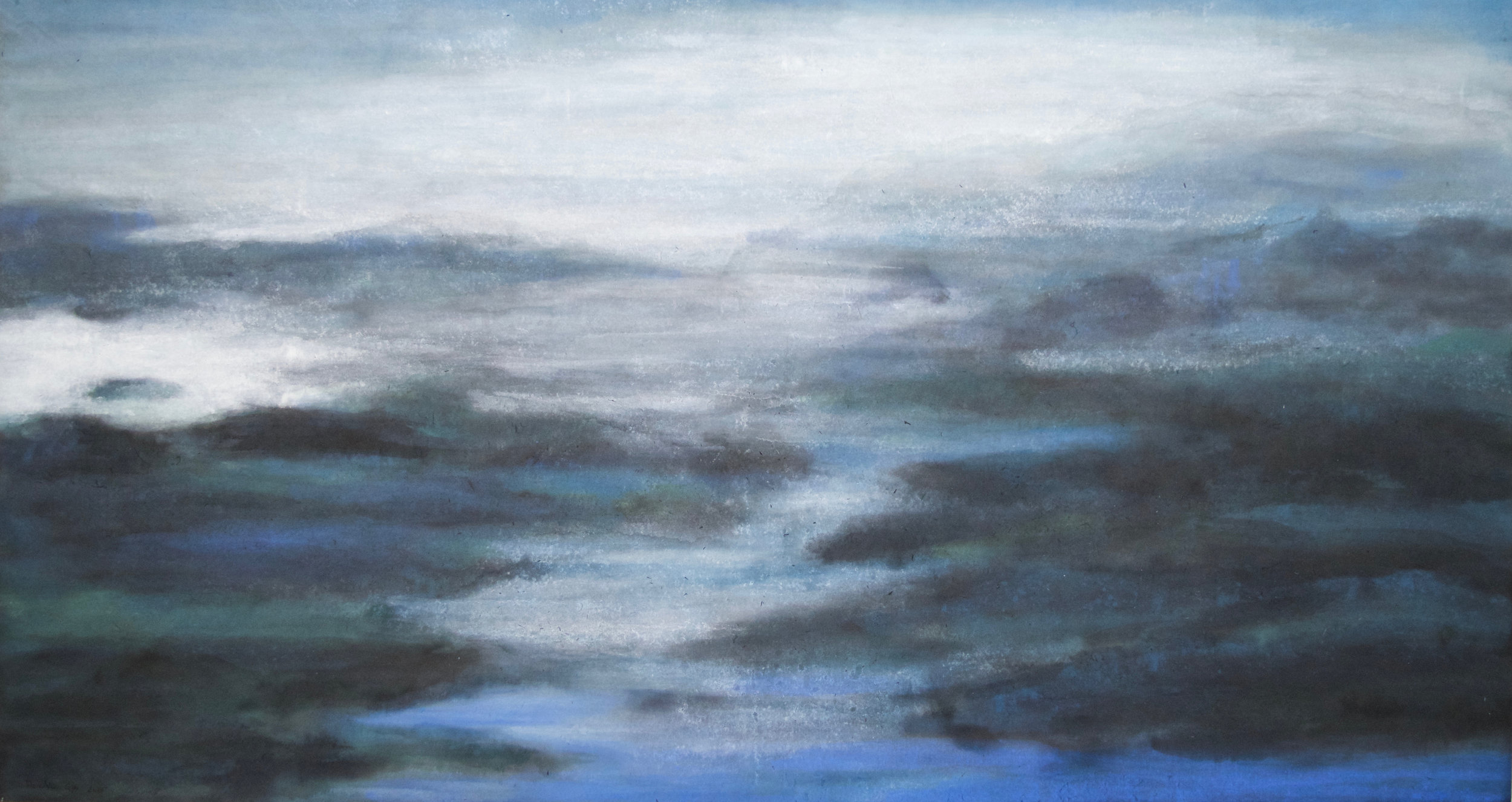 """The Sippewissett marsh 31""""x58"""", Watercolor on rice paper, 2016."""