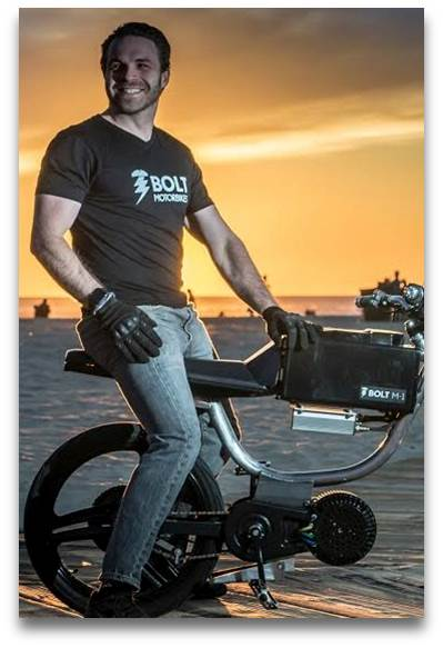 Josh Rasmussen -Bolt Motorbikes    Bolt's  Co-founder and CEO, Josh Rasmussen, moved to San Francisco in 2008 and has been riding motorcycles ever since. His passion for technology and hardware combines with experience in managing sales teams for legal technology firms and auto dealer leaders, Dodge and Chevrolet. Josh has strategically deployed teams to scale sales operations across major territories in the US. His expertise completes the foundation of Bolt Motorbikes' core team, bringing together business development, production, and innovation.