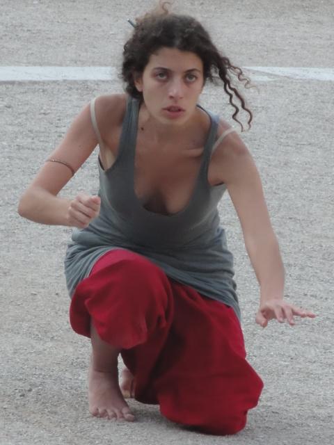 Rosa Prodromou in Epidavros at work on Medea in Euripides' Orestes, 2011