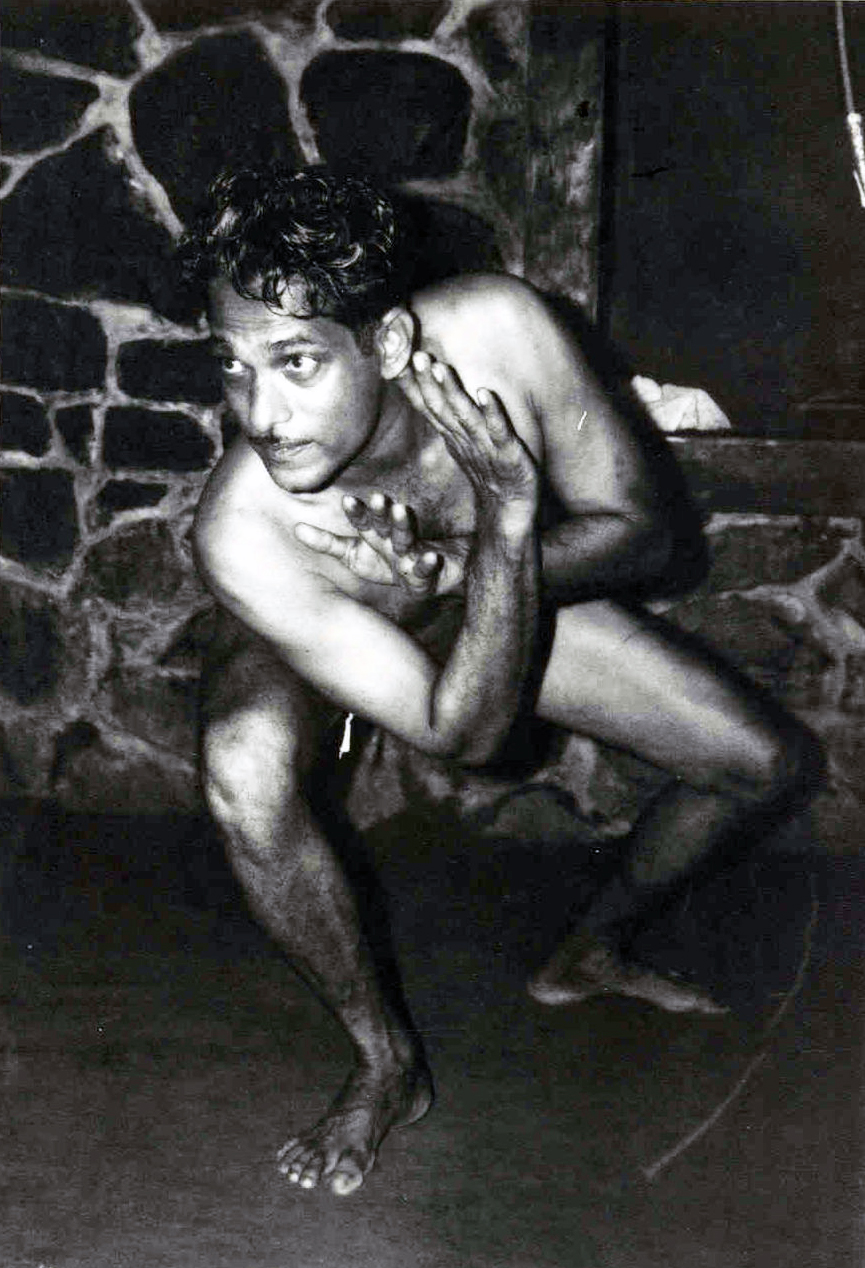 Gurukkal Govindankutty Nayar: photo from 1976 in the CVN Kalari, Thiruvananthapuram. The Lion Pose. Phillip Zarrilli's primary teacher.