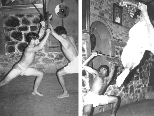 Left: Phillip Zarrilli's early training (1977) in sword and shield with Gurukkal Govindankutty Nayar.  Right: Rajashekaran Nayar and Gurukkal Govindankutty Nayar, 1977.