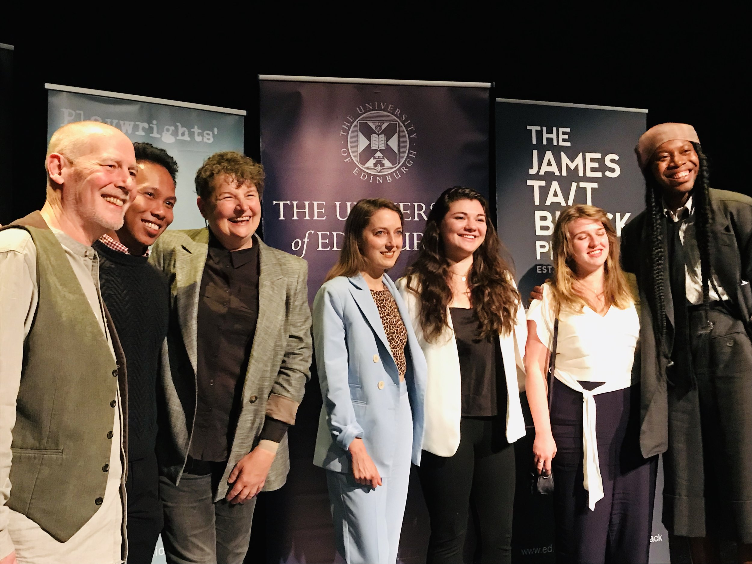 Phillip Zarrilli and Kaite O'Reilly, along with Clare Barron (middle/blue) and James O. Harris (far right) with some of the MA playwriting students from Edinburgh University at the ceremony on 19th August.