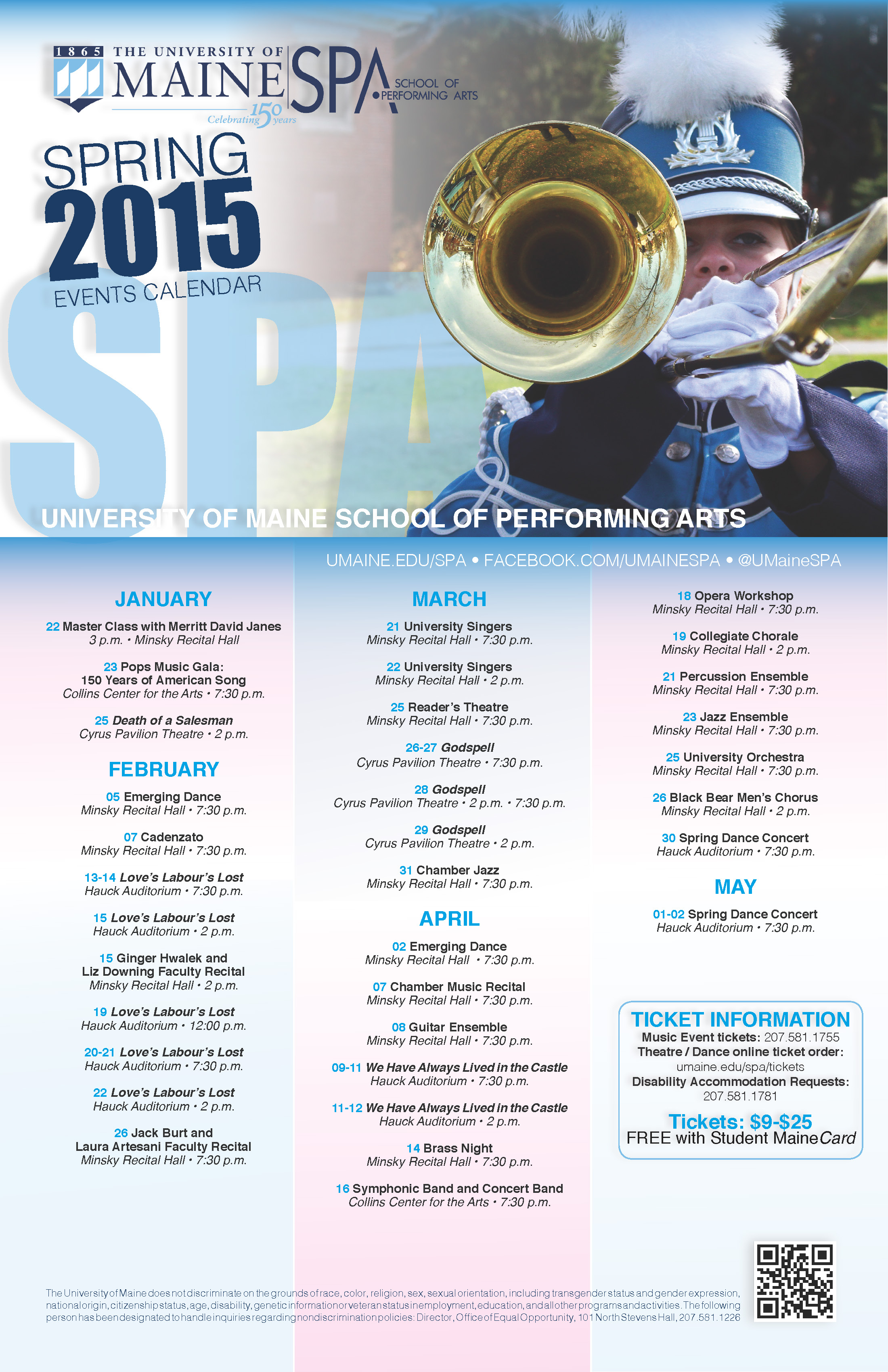 University of Maine, School of Performing Arts, Events Calendar
