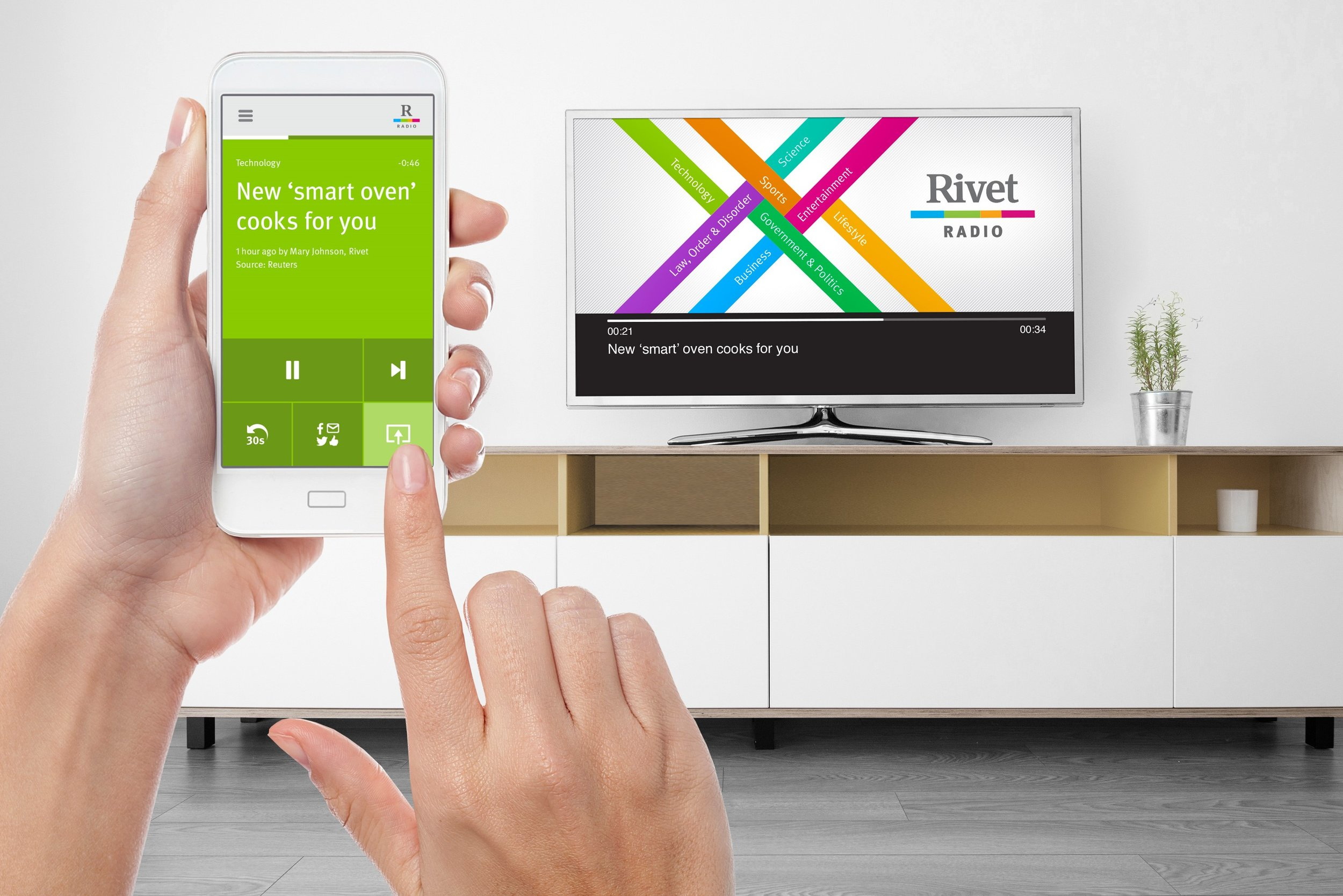 With Fling, Rivet Radio customers get the capability to share music and videos on the largest screen in the house.