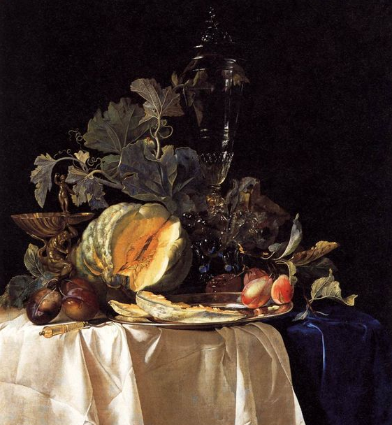 Willem van Aelst (Dutch, 1627-1683): Still-Life with Fruit and Crystal Vase 1652 Oil on canvas