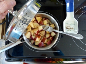 Make your own applesauce by steaming an unpeeled apple and grinding a blender.