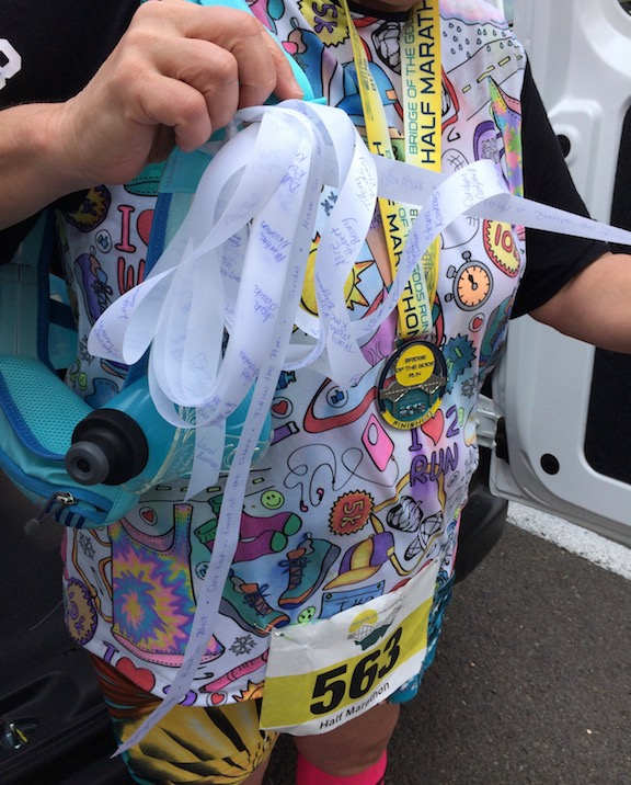 I wrote the names of all my running support friends on a ribbon and carried it with me.