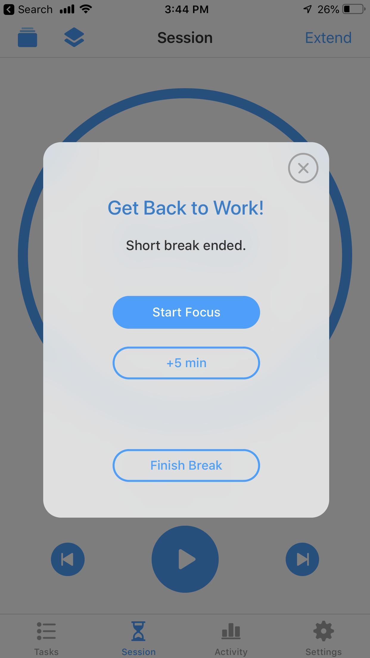 Start or Break Focus App