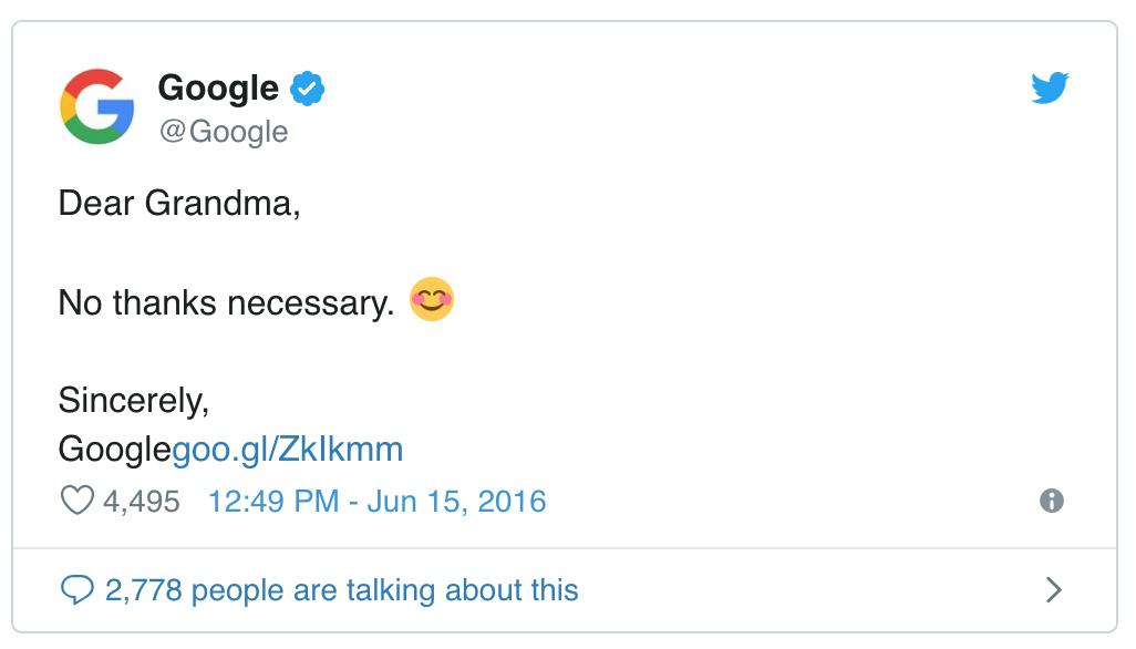 Google's Official Tweet