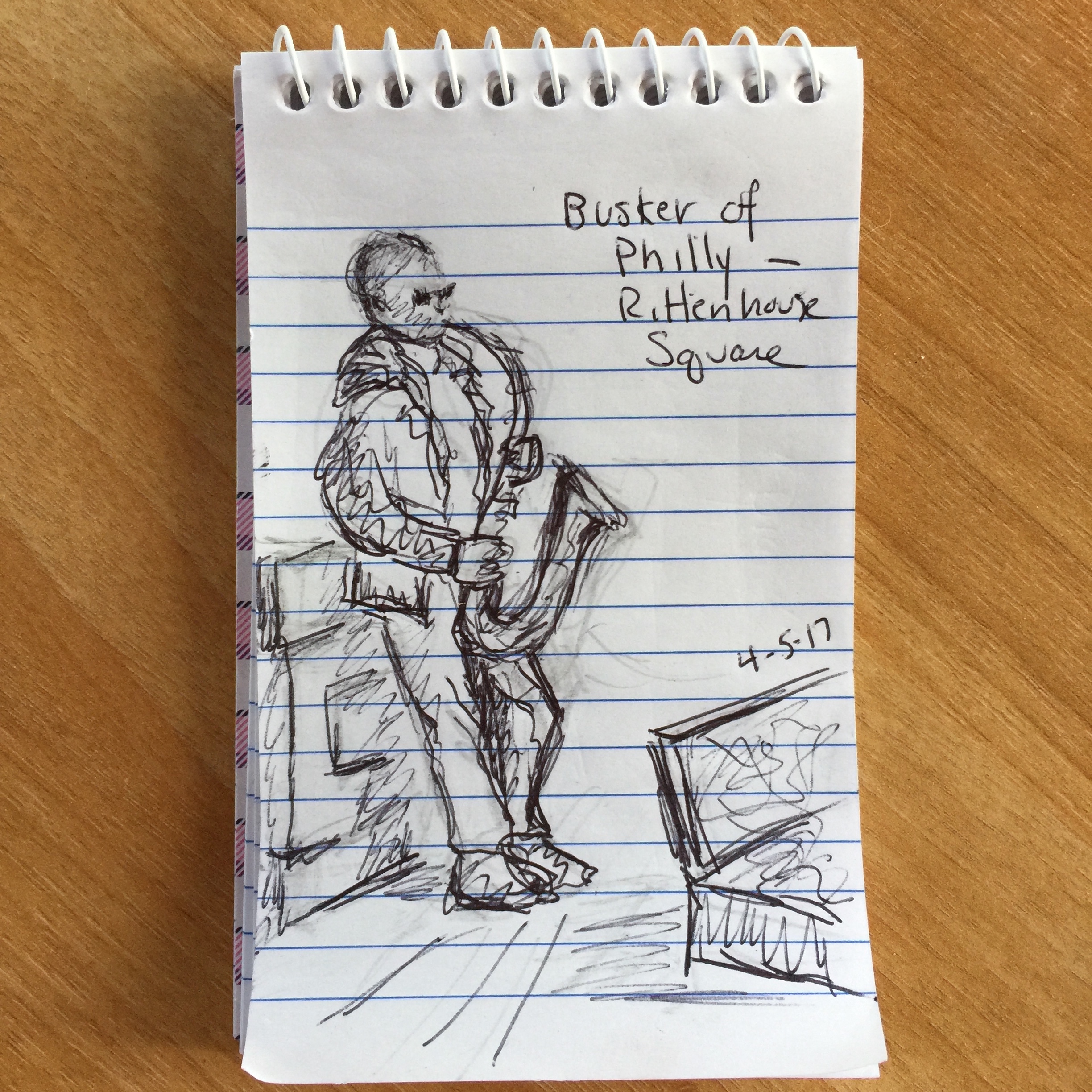 """Busker of Philly""—Rittenhouse Square.""  Ballpoint pen on notepad, Philadelphia, PA. 4-5-2017,"