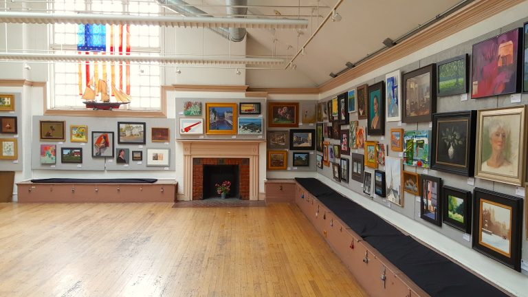A preview of the 154th Small Oil Paintings Exhibition