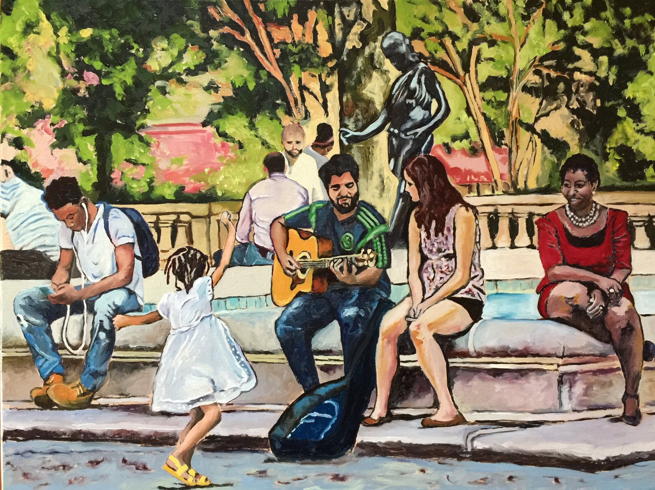 """""""Dancing at Rittenhouse Square"""" 18x24 inches, oil on stretch linen canvas."""