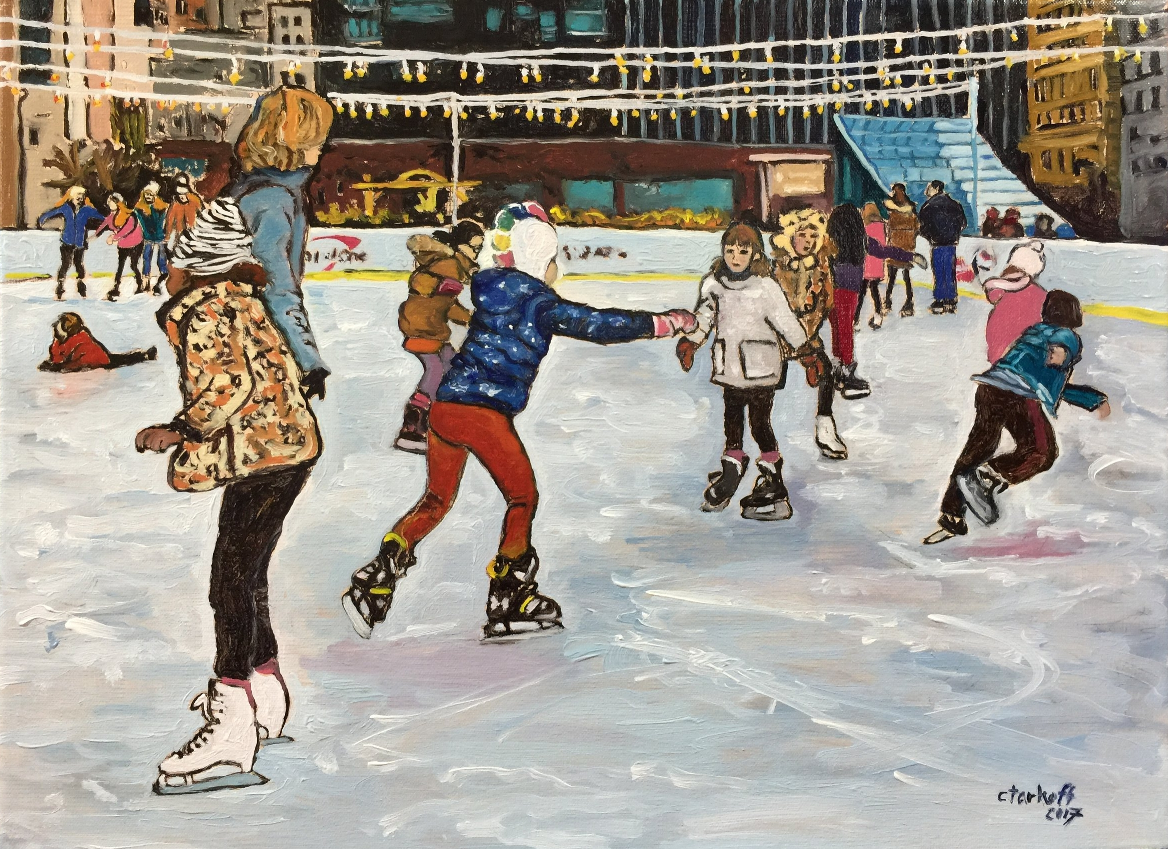 Ice Skating at Dilworth Park on a Sunday Afternoon, 12x16, oil on stretched canvas, will be hanging at the Main Line Art Center Members Exhibition. It is framed and ready to hang. Available for sale - $576.