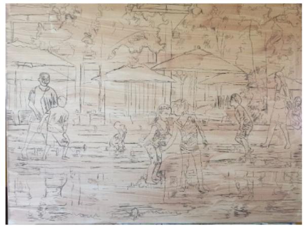 """Dilworth Splash,"" pencil sketch on canvas, 18x24, work in progress"